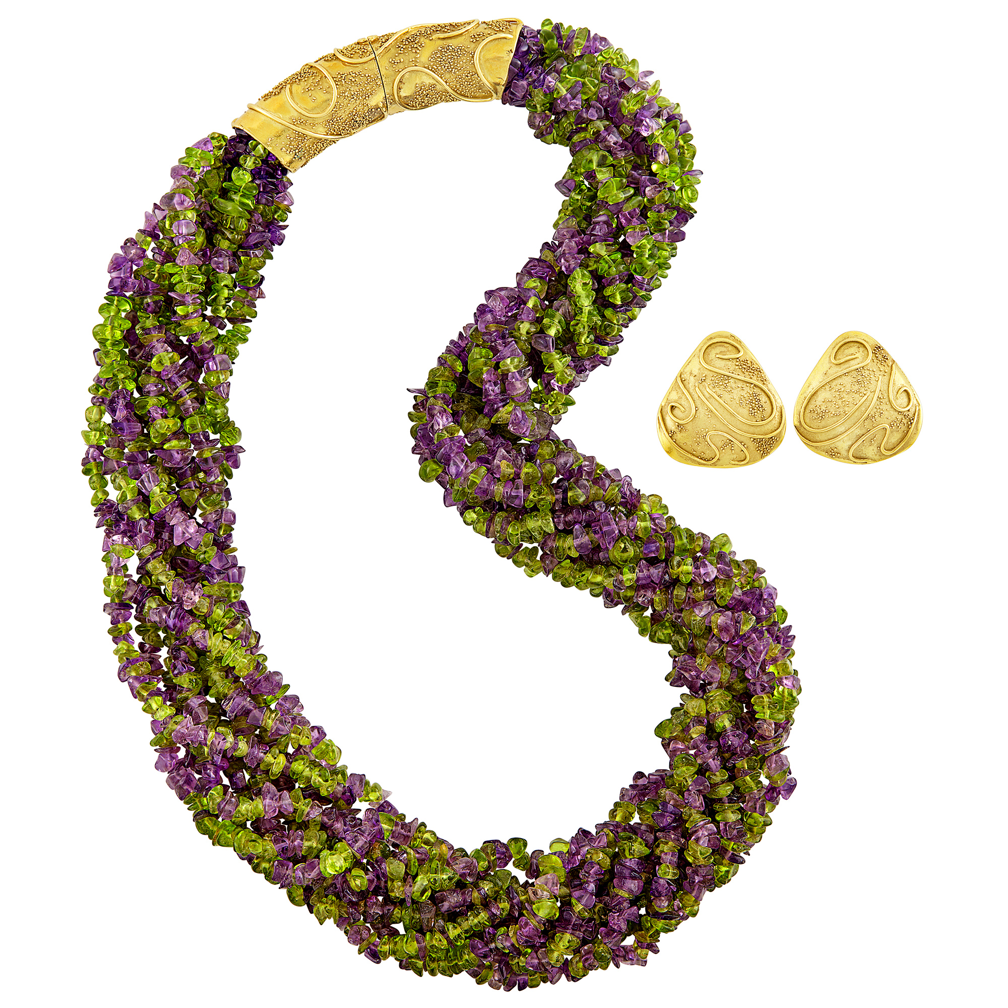 Lot image - Multistrand Peridot and Amethyst Bead Torsade Necklace with Gold Clasp and Pair of Gold Earrings, Elizabeth Gage