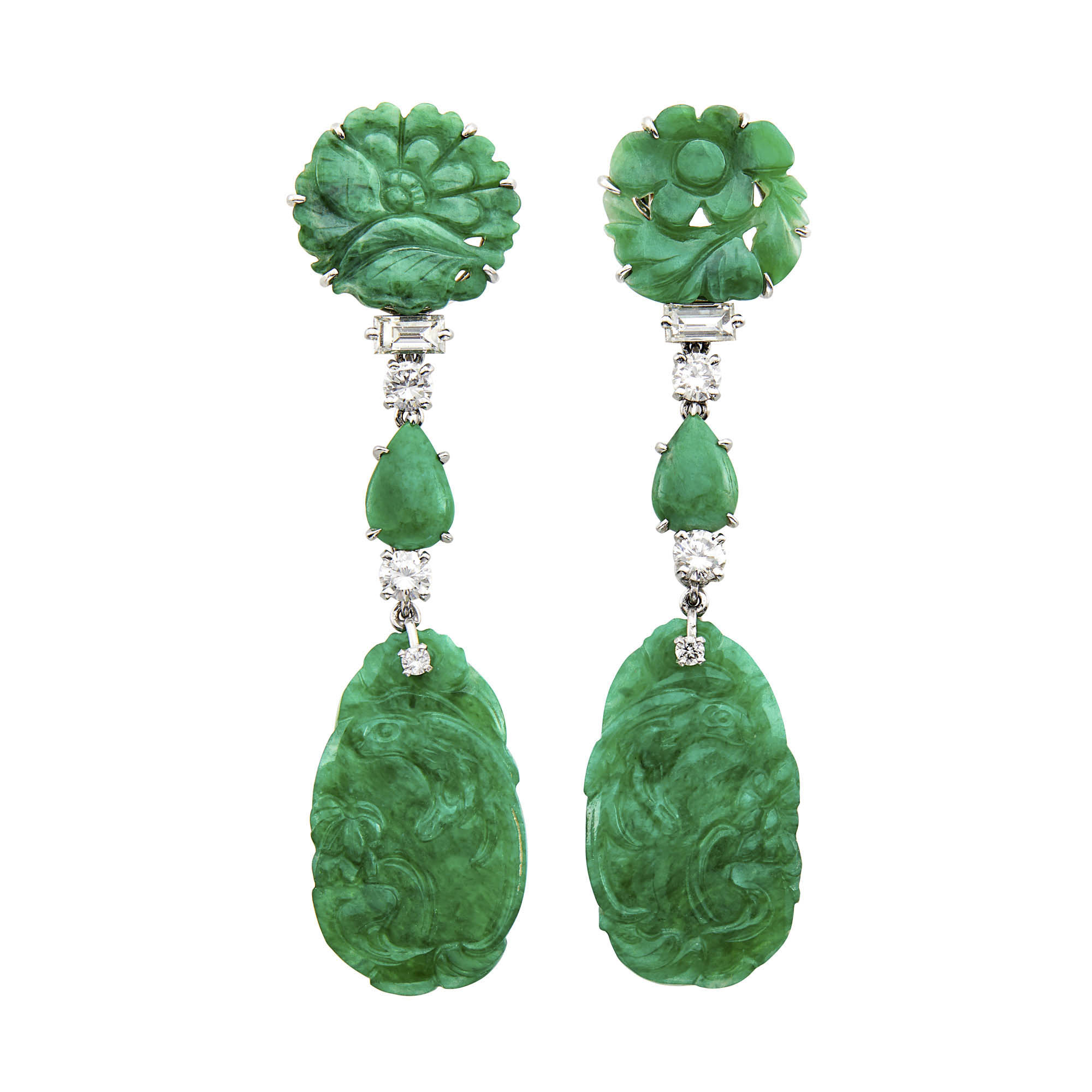 Lot image - Pair of Platinum, Carved Jade and Diamond Pendant-Earclips