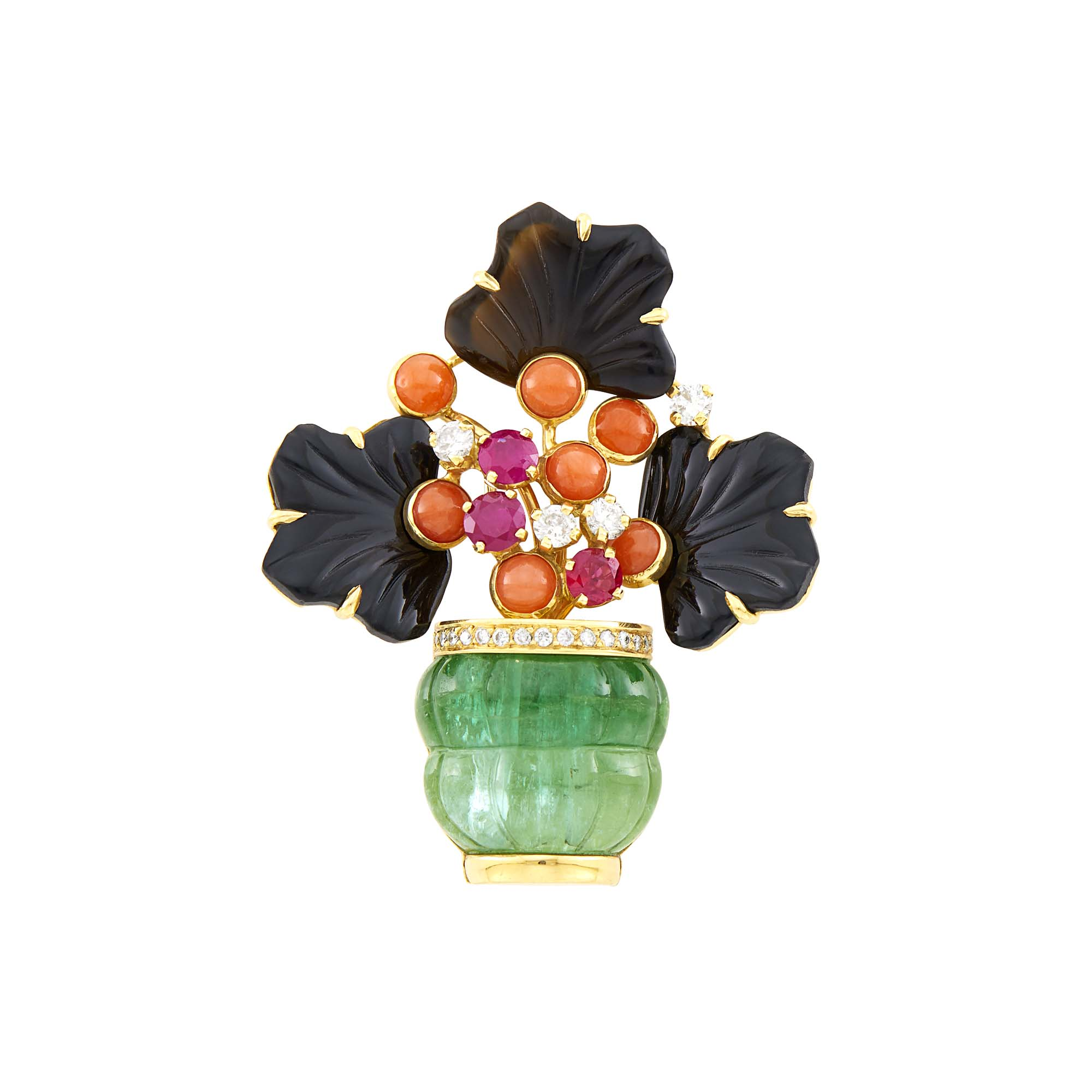Lot image - Gold, Carved Emerald and Black Onyx, Coral, Ruby and Diamond Flower Pot Clip-Brooch, France
