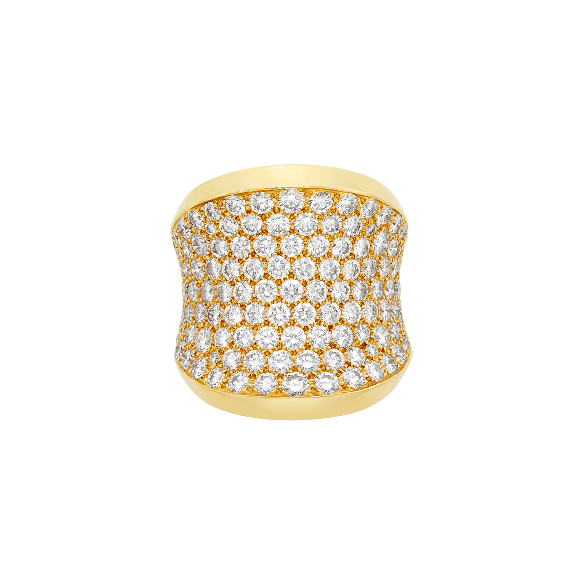 Lot image - Wide Gold and Diamond Concave Ring, Cartier, France
