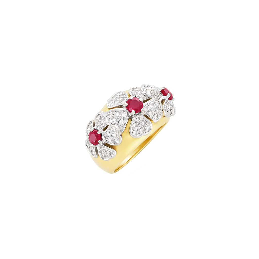 Lot image - Two-Color Gold, Ruby and Diamond Flower Ring