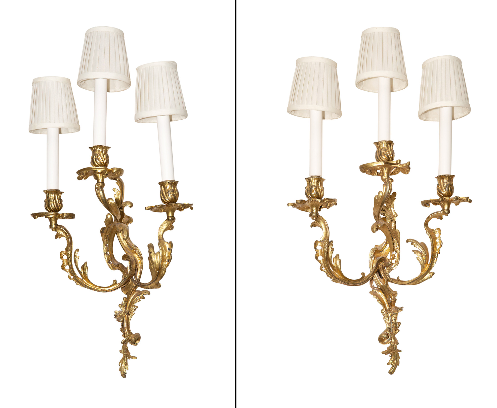 Lot image - Pair of Louis XV Style Gilt-Bronze Three-Branch Wall Lights