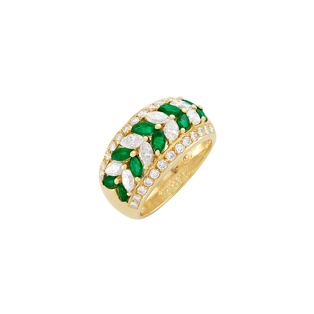 Lot image - Gold, Emerald and Diamond Ring