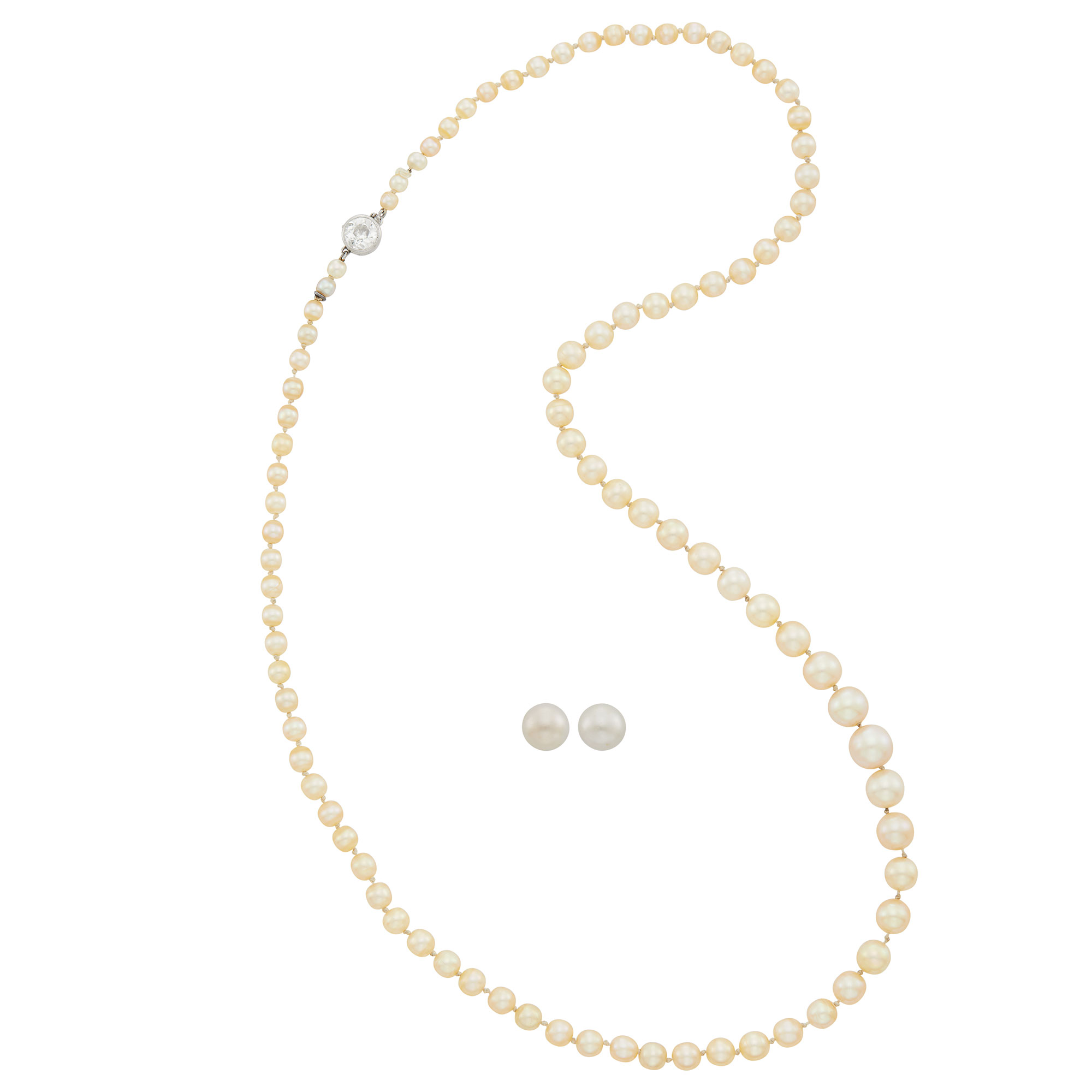 Lot image - Natural Pearl Necklace with Platinum and Diamond Clasp and Pair of Gold and Natural Pearl Stud Earrings