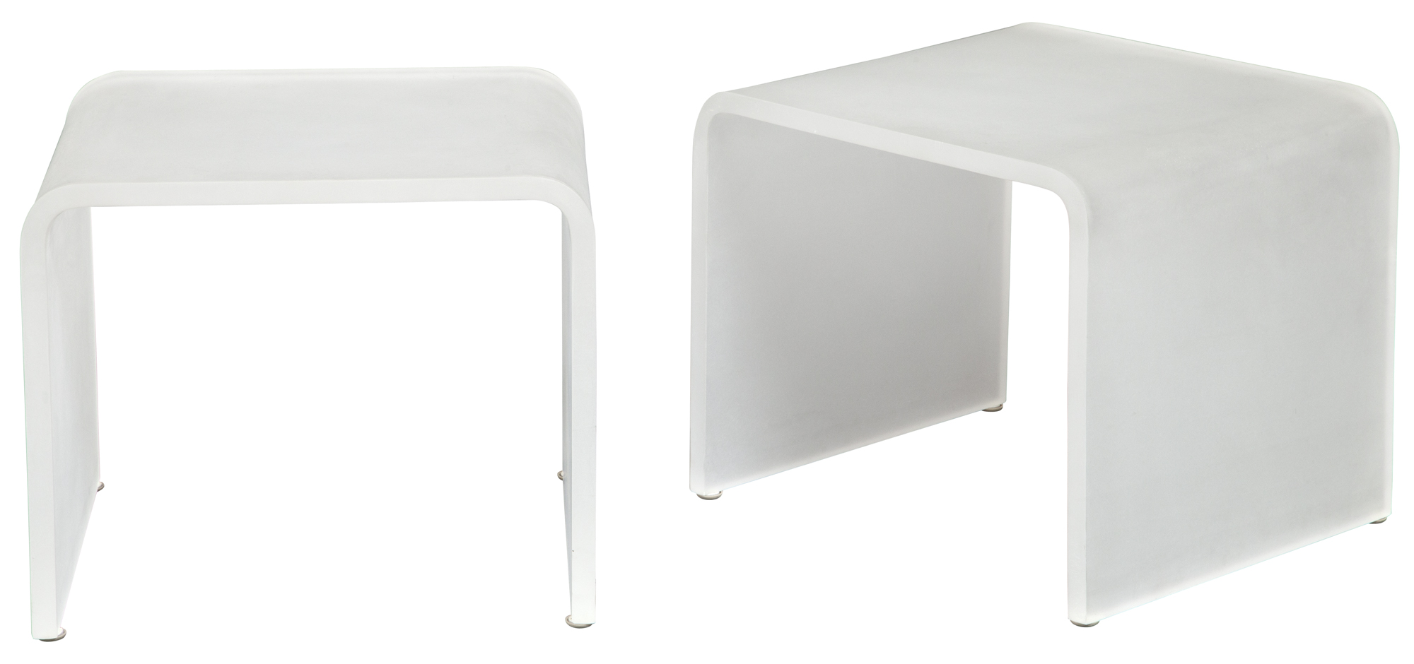 Lot image - Pair of Frosted Acrylic Waterfall Low Tables