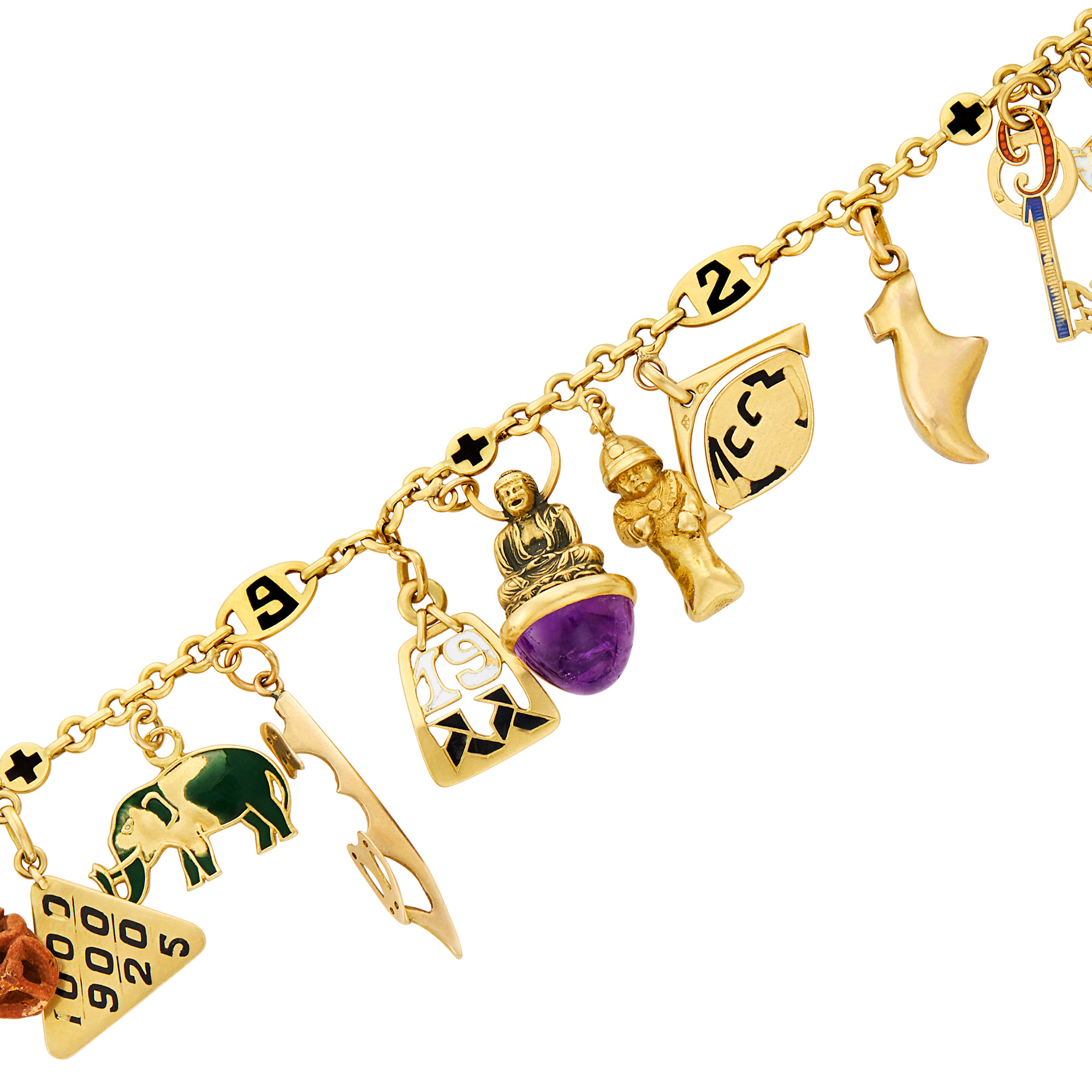Lot image - Gold, Enamel and Gem-Set Charm Bracelet