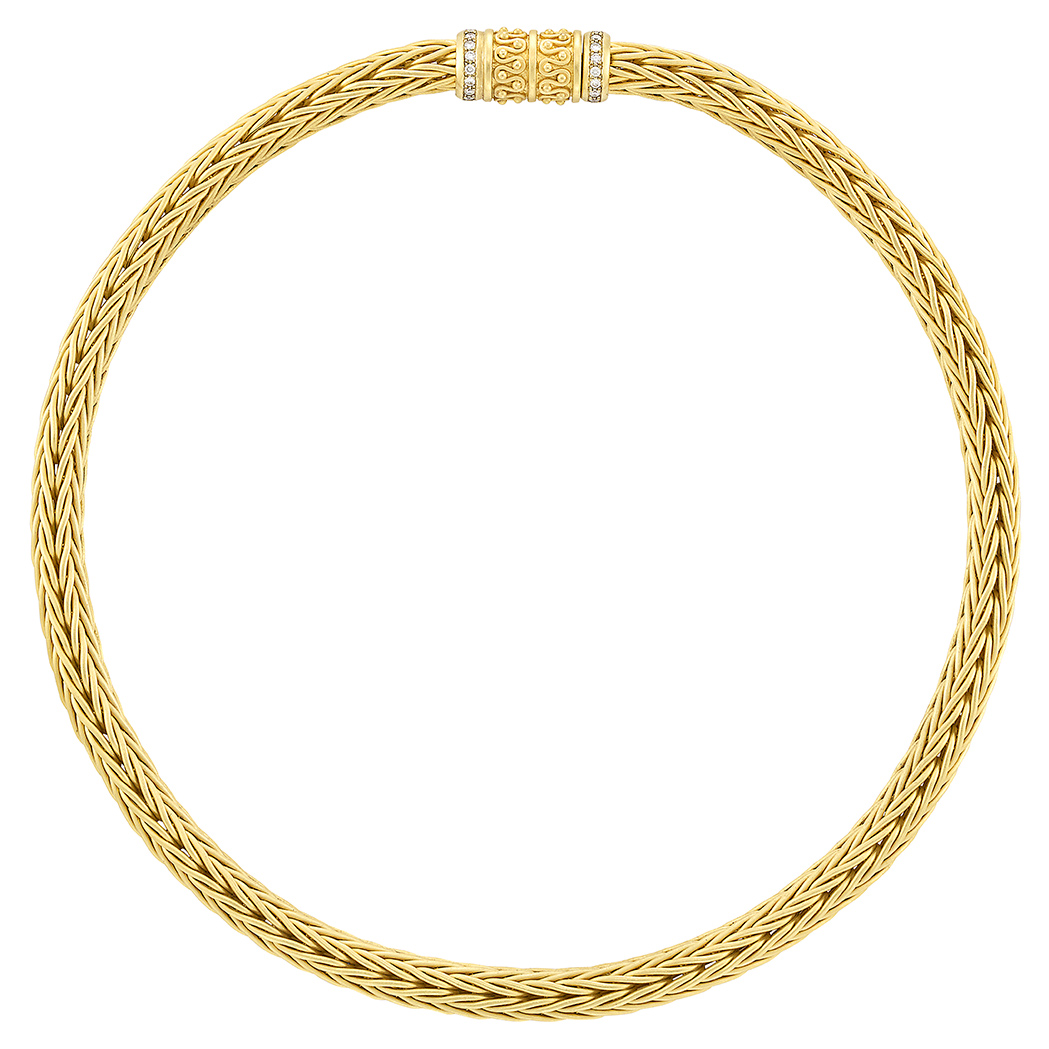 Lot image - Braided Gold and Diamond Necklace