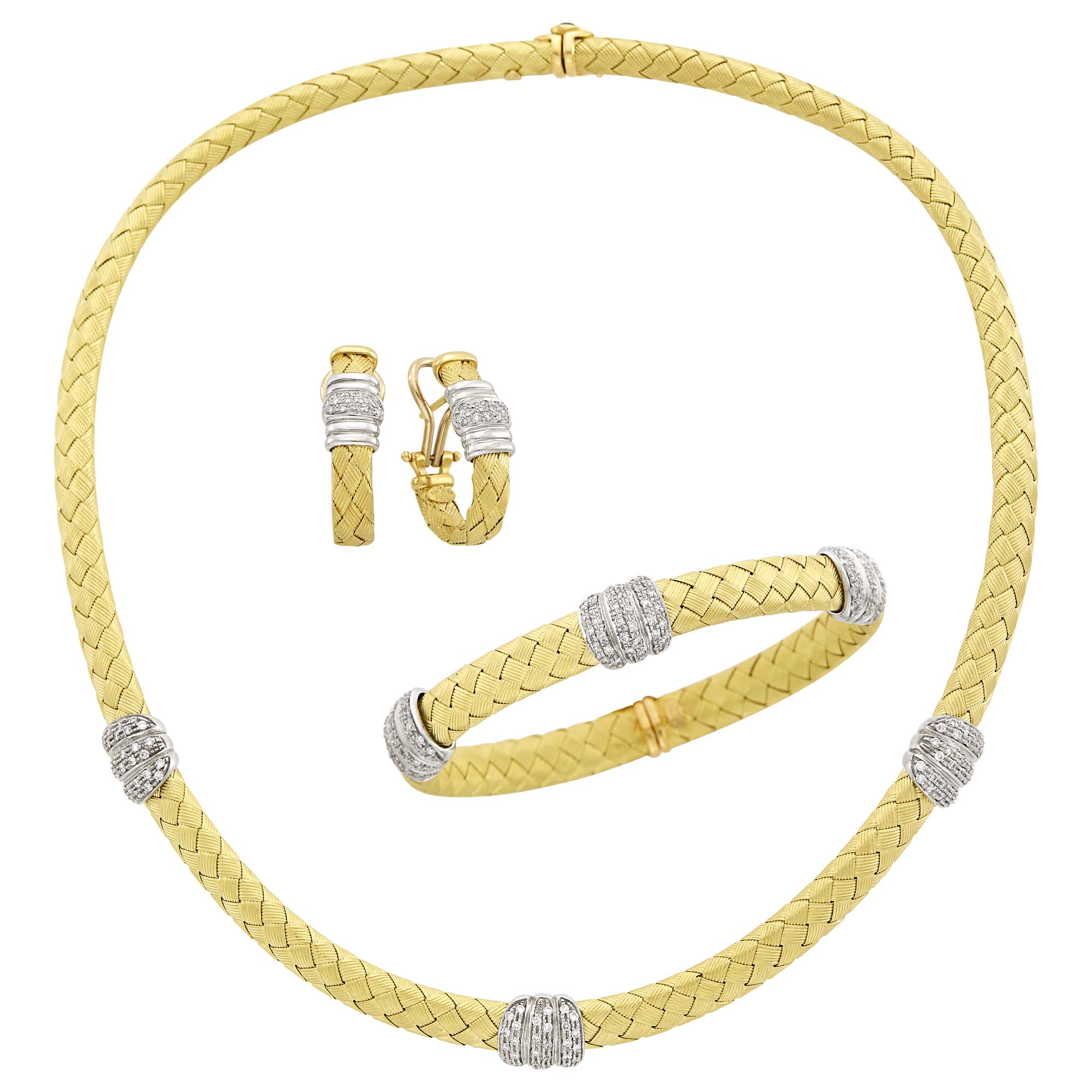 Lot image - Two-Color Gold and Diamond Necklace, Bracelet and Pair of Earrings