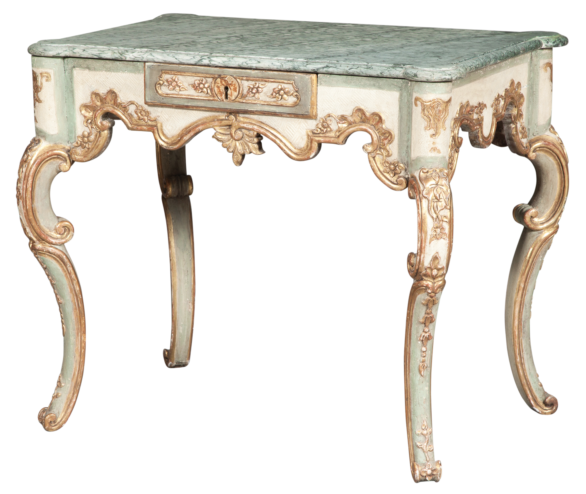 Lot image - Continental Painted and Parcel-Gilt Table