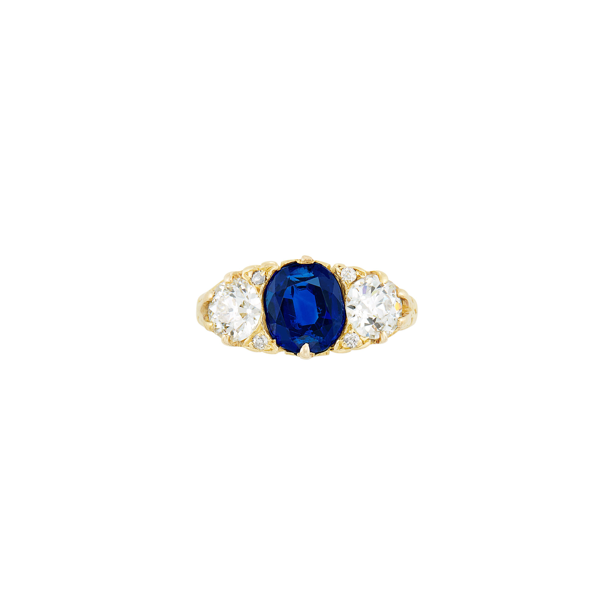 Lot image - Antique Gold, Sapphire and Diamond Ring