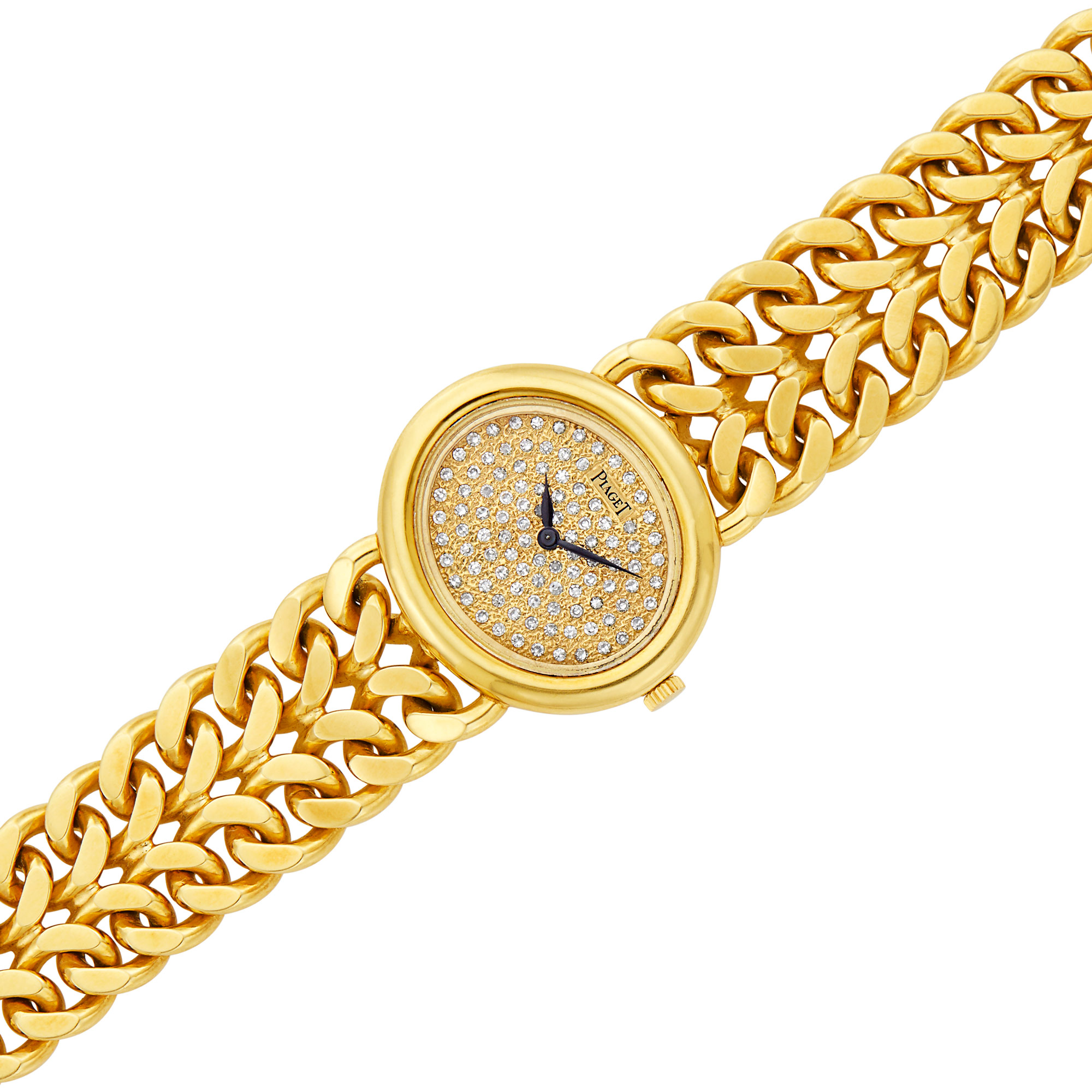 Lot image - Gold and Diamond Curb Link Wristwatch, Piaget