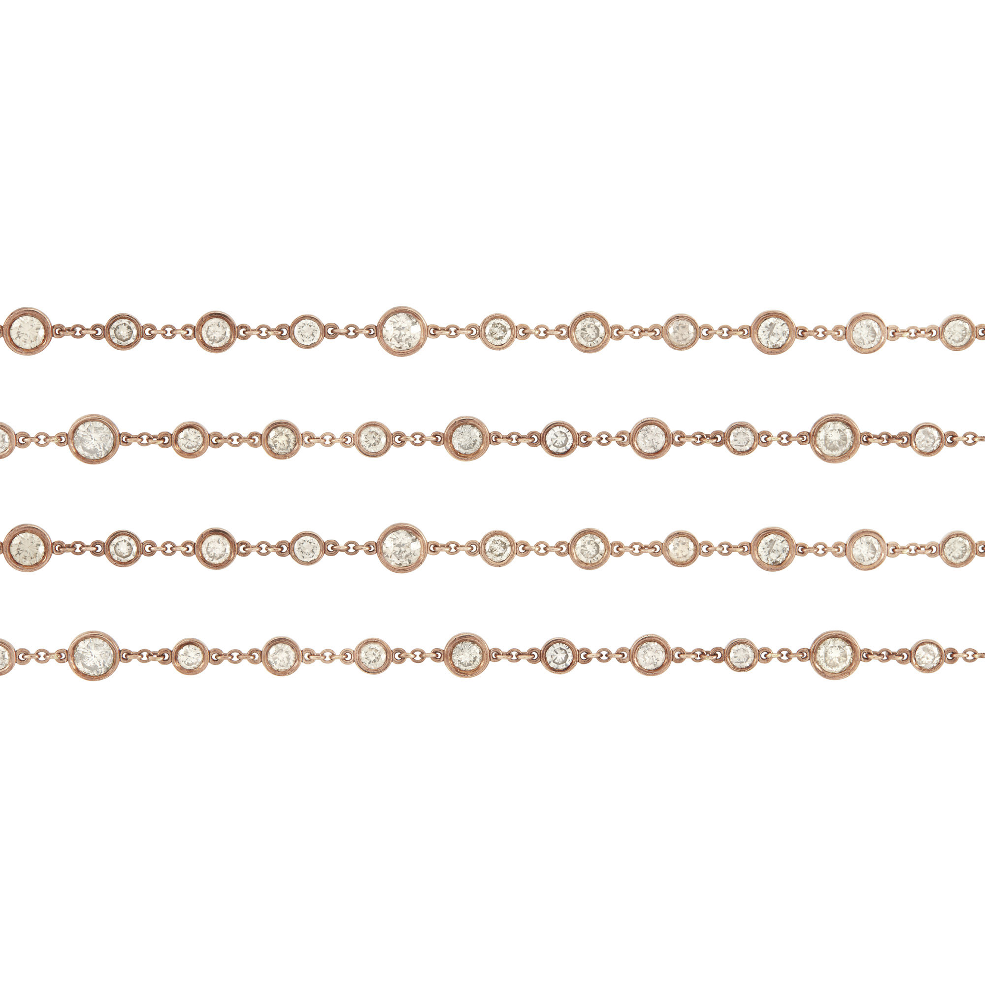 Lot image - Long Rose Gold and Diamond Chain Necklace