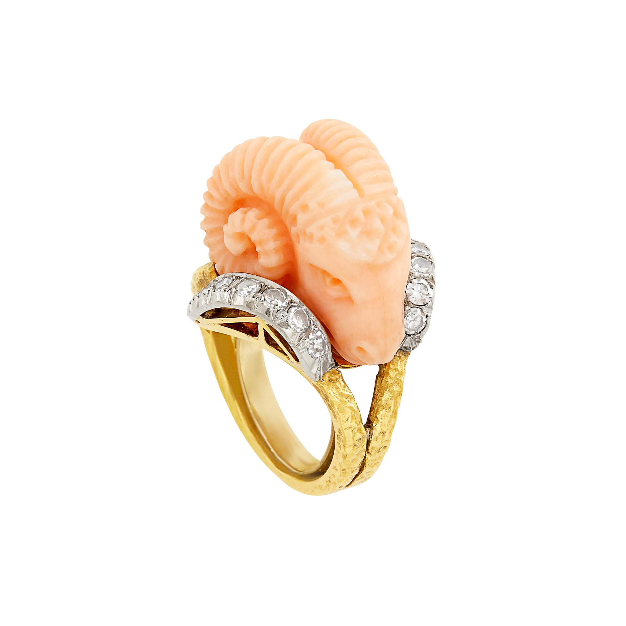 Lot image - Two-Color Gold, Carved Angel Skin Coral and Diamond Rams Head Ring