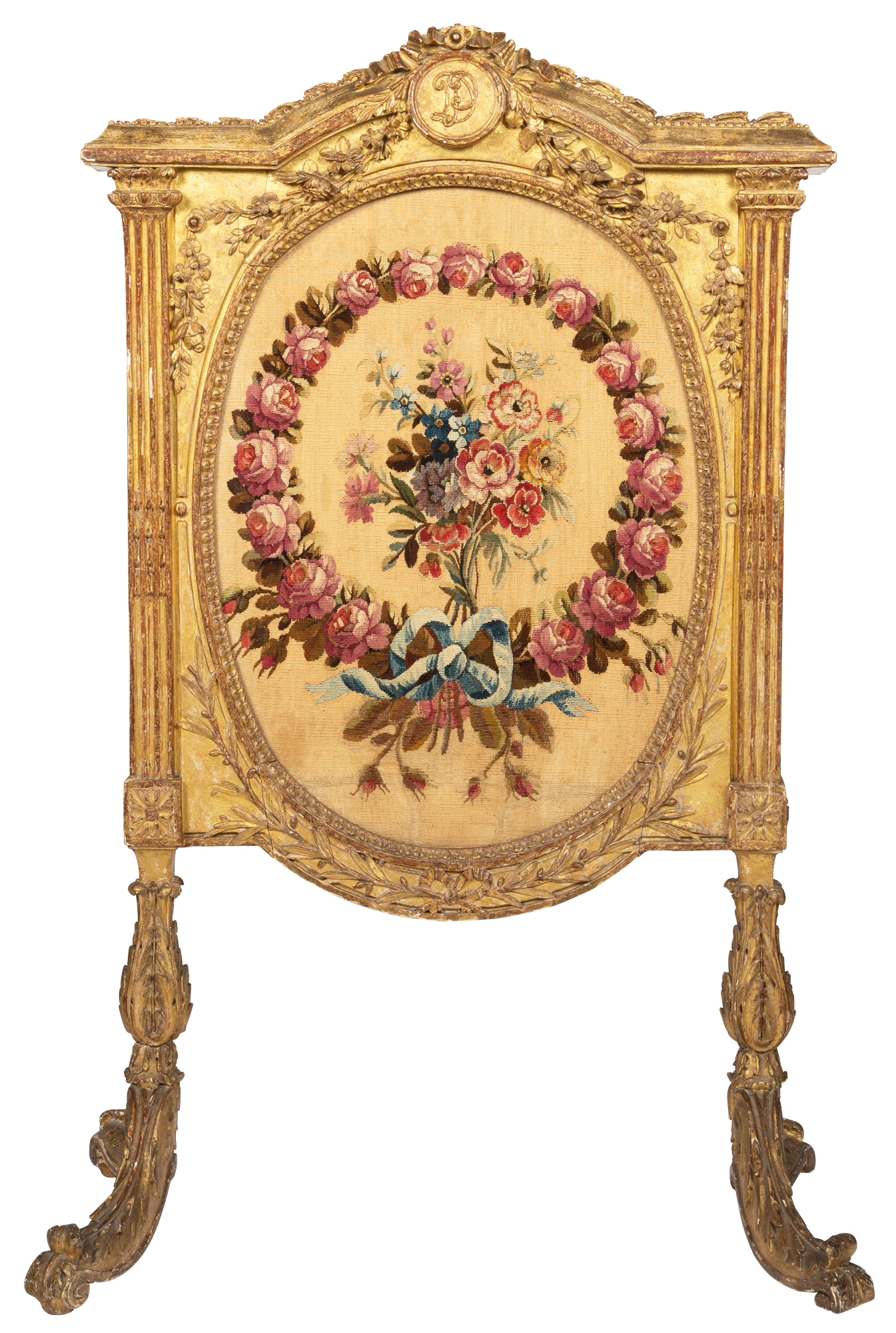 Lot image - Lous XVI Carved Giltwood and Aubusson Tapestry Fire Screen