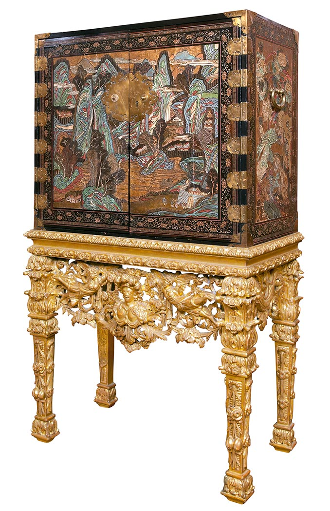 Lot image - Chinese Polychrome Painted and Parcel Gilt Coromandel Black Lacquer Cabinet on a Continental Giltwood Stand