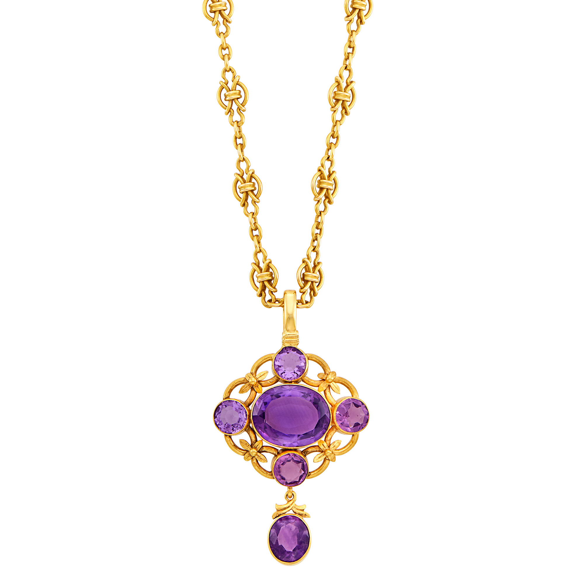 Lot image - Gold and Amethyst Pendant with Gold Chain Necklace
