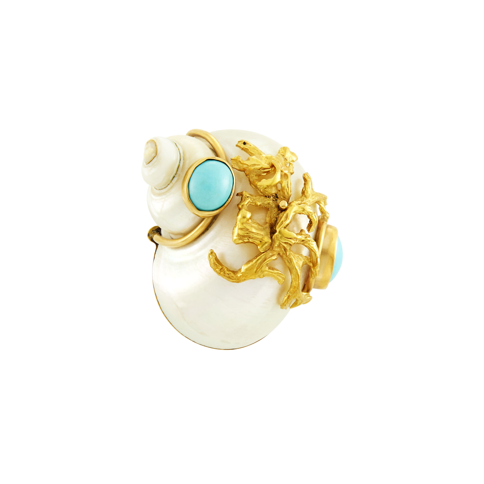 Lot image - Seaman Schepps Gold, Shell and Turquoise Clip-Brooch