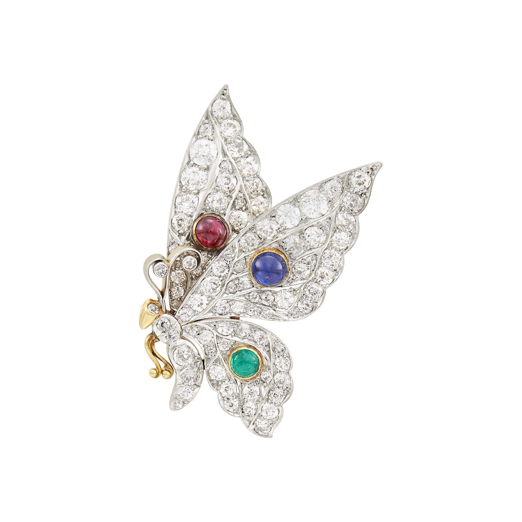 Lot image - Platinum, Gold, Cabochon Ruby, Sapphire and Emerald Butterfly Brooch