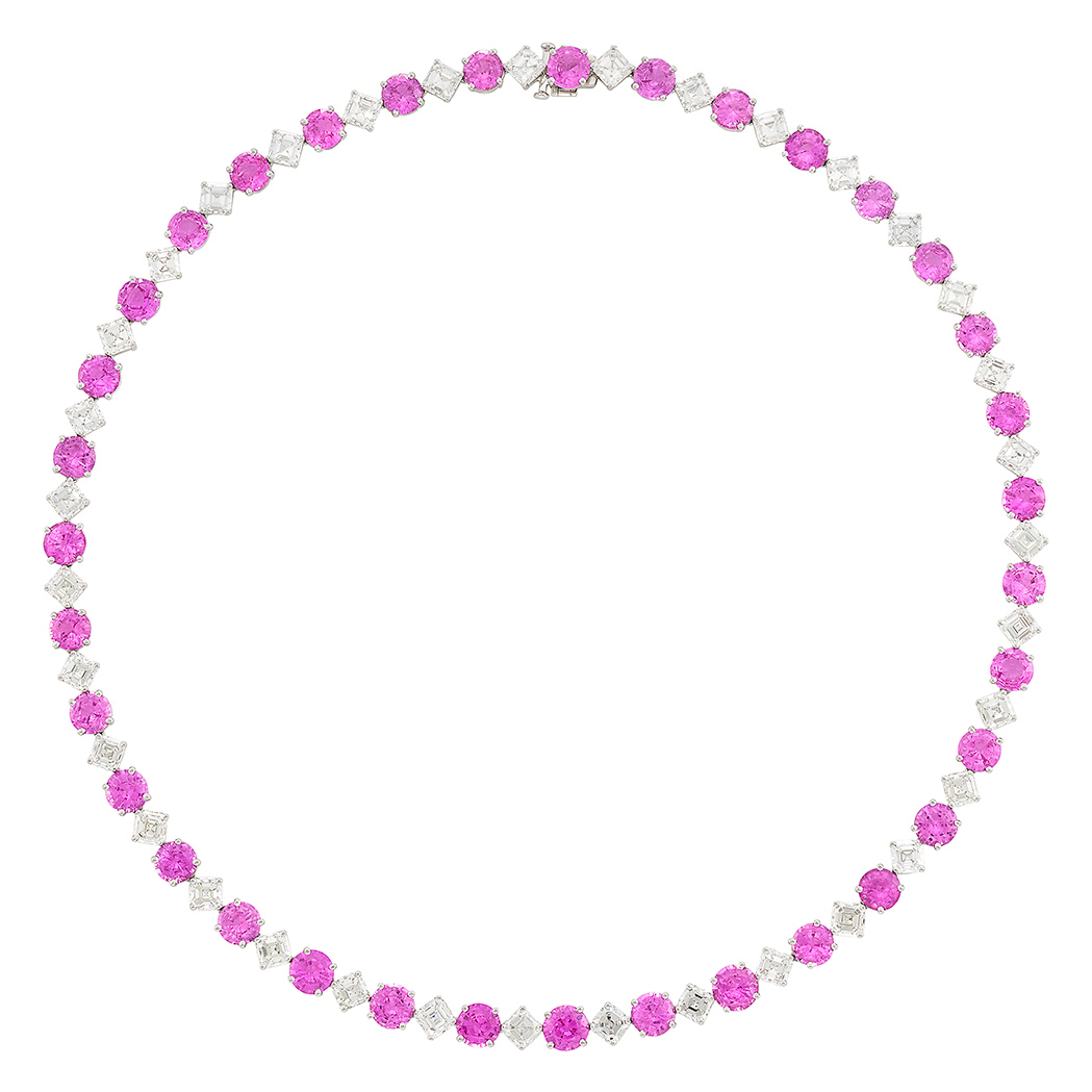 Lot image - Platinum, Pink Sapphire and Diamond Necklace