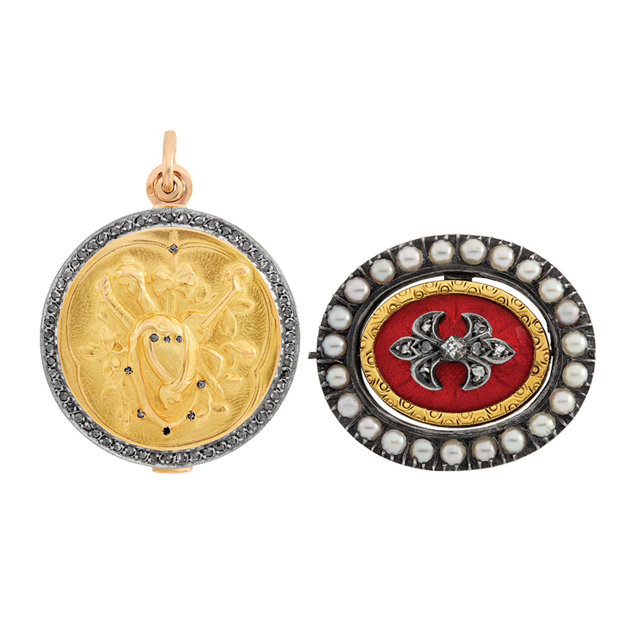 Lot image - Antique Platinum-Topped Gold and Diamond Pendant-Locket, Gold, Silver, Enamel, Diamond and Pearl Double Sided Brooch