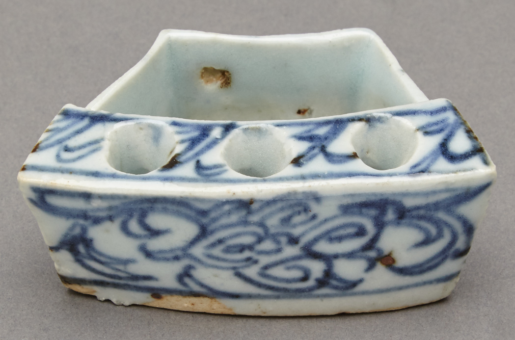 Lot image - Chinese Blue and White Glazed Porcelain Incense Holder