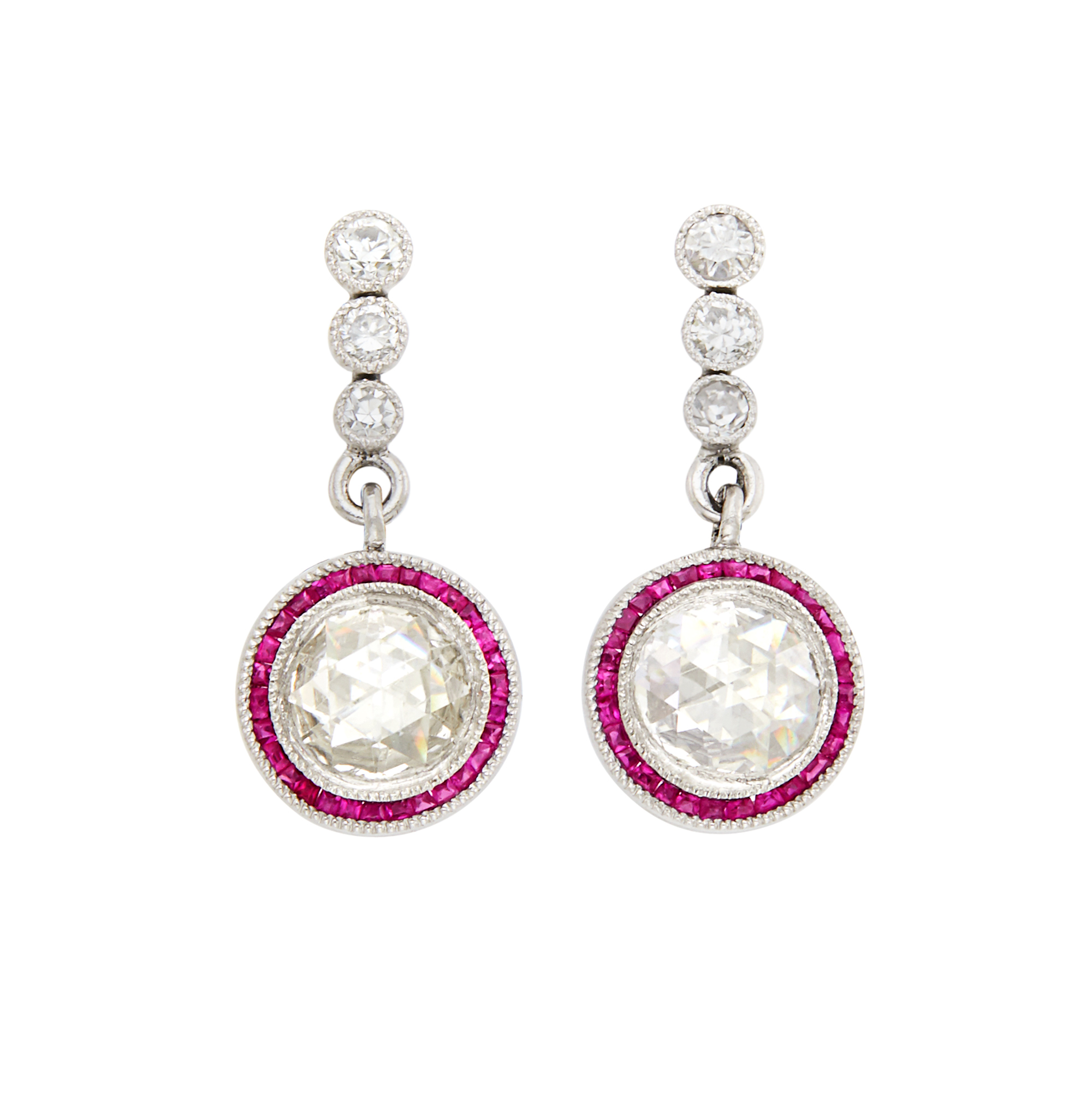Lot image - Pair of Platinum, Diamond and Ruby Earrings