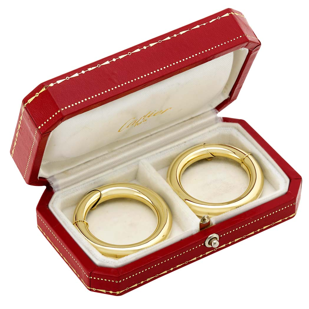 Lot image - Pair of Gold Hoop Earrings, Cartier