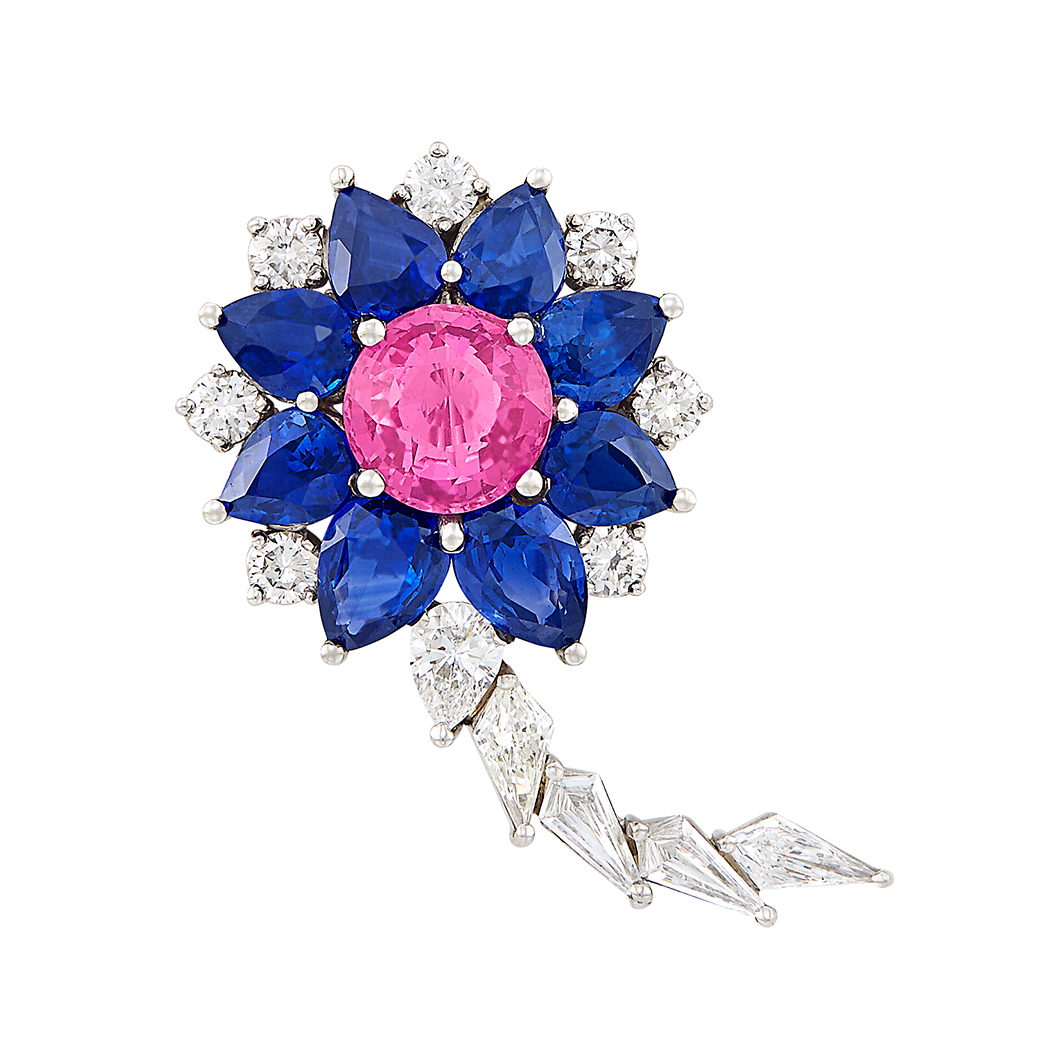 Lot image - Platinum, Pink Sapphire, Sapphire and Diamond Flower Brooch