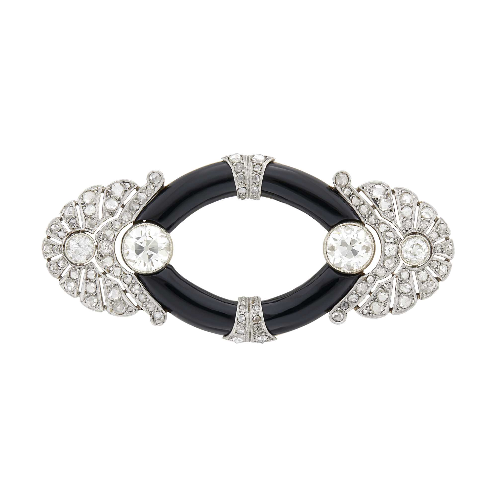 Lot image - Platinum, Gold, Diamond and Black Onyx Brooch