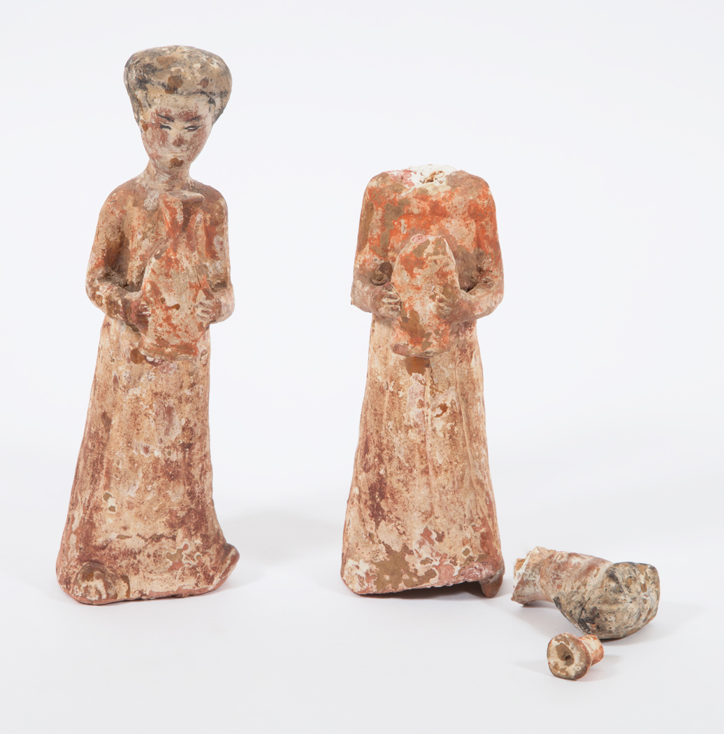 Lot image - Two Similar Chinese Painted Pottery Figures of a Females