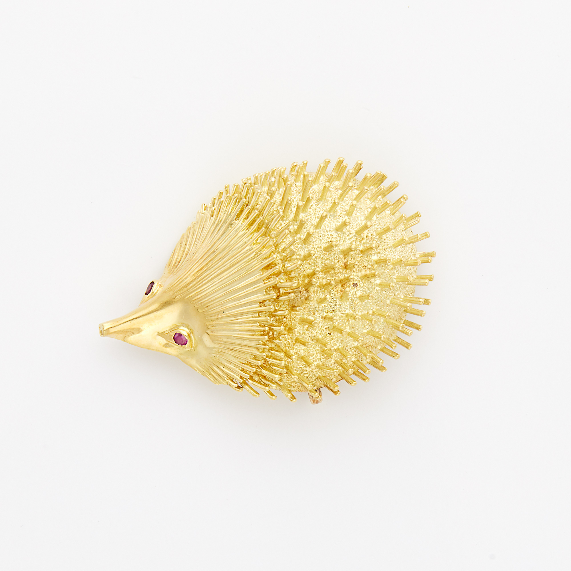 Lot image - Gold and Ruby Porcupine Pin