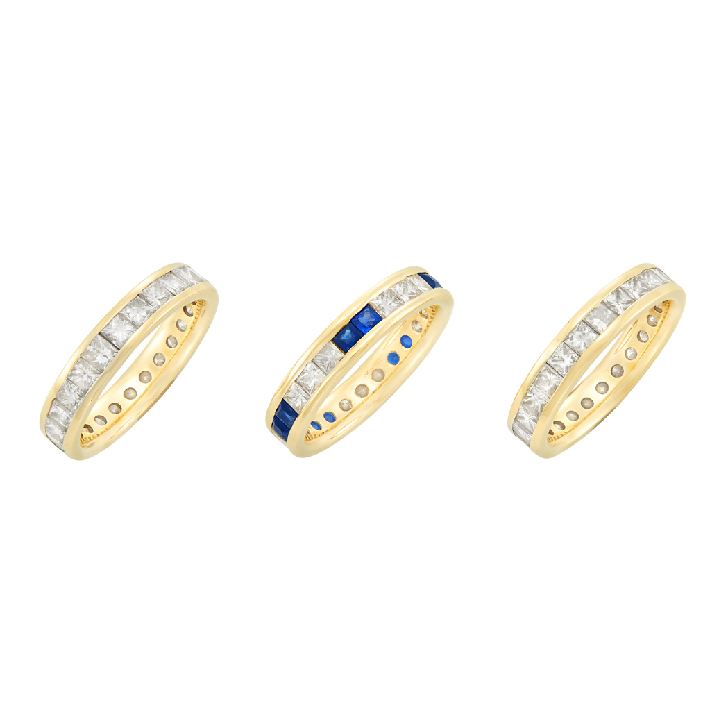 Lot image - Three Gold, Diamond and Sapphire Band Rings