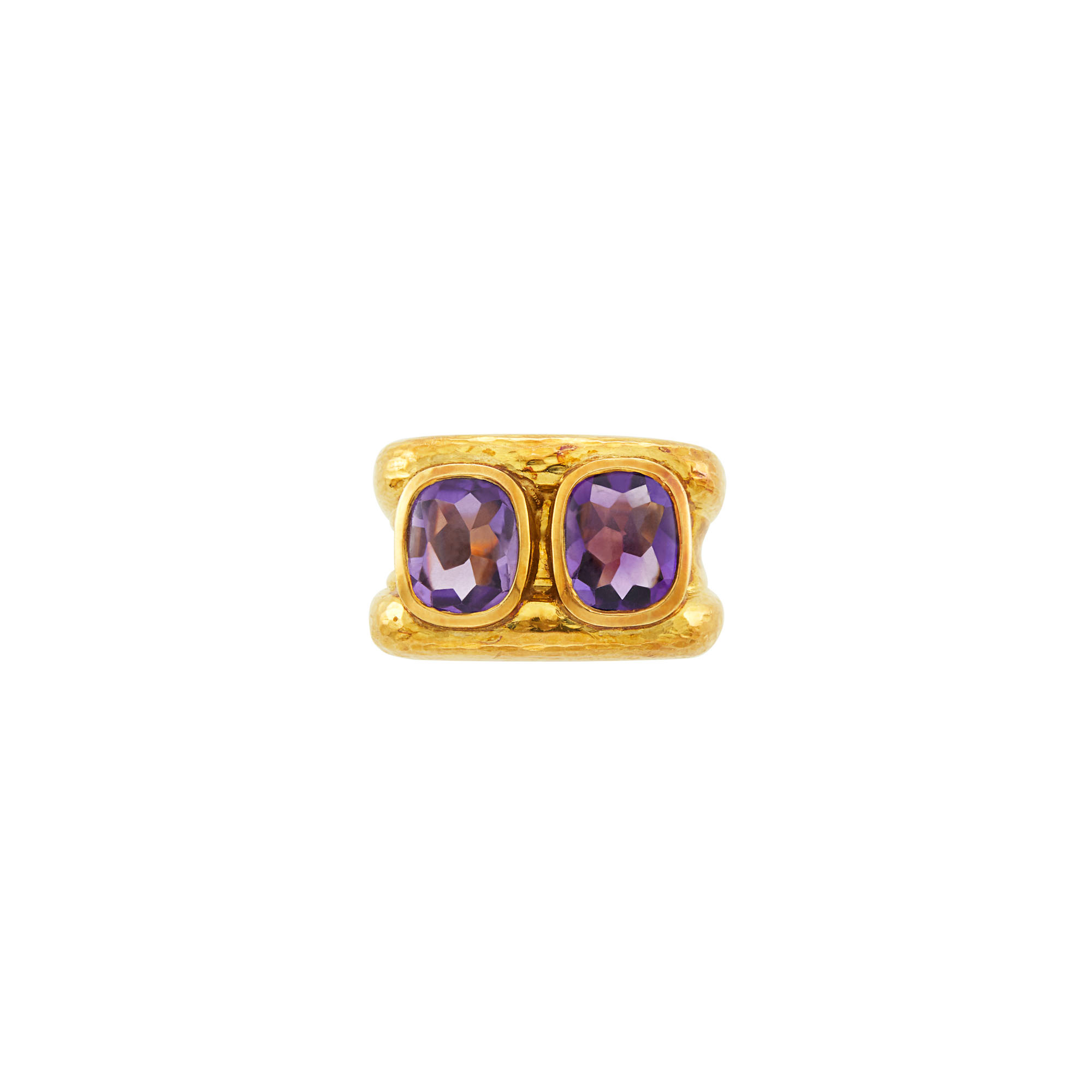 Lot image - Hammered Gold and Cabochon Amethyst Ring