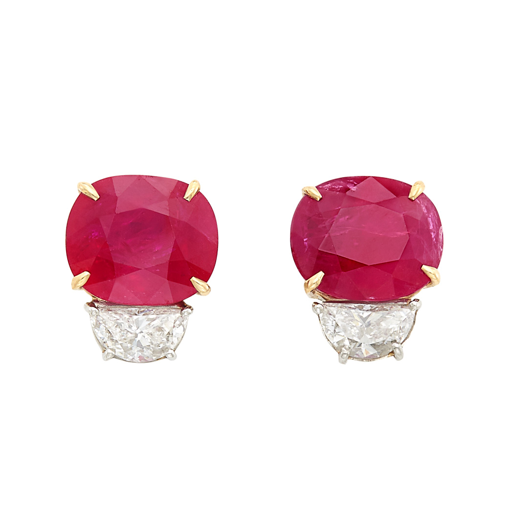 Lot image - Pair of Platinum, Gold, Ruby and Diamond Earrings, Piranesi