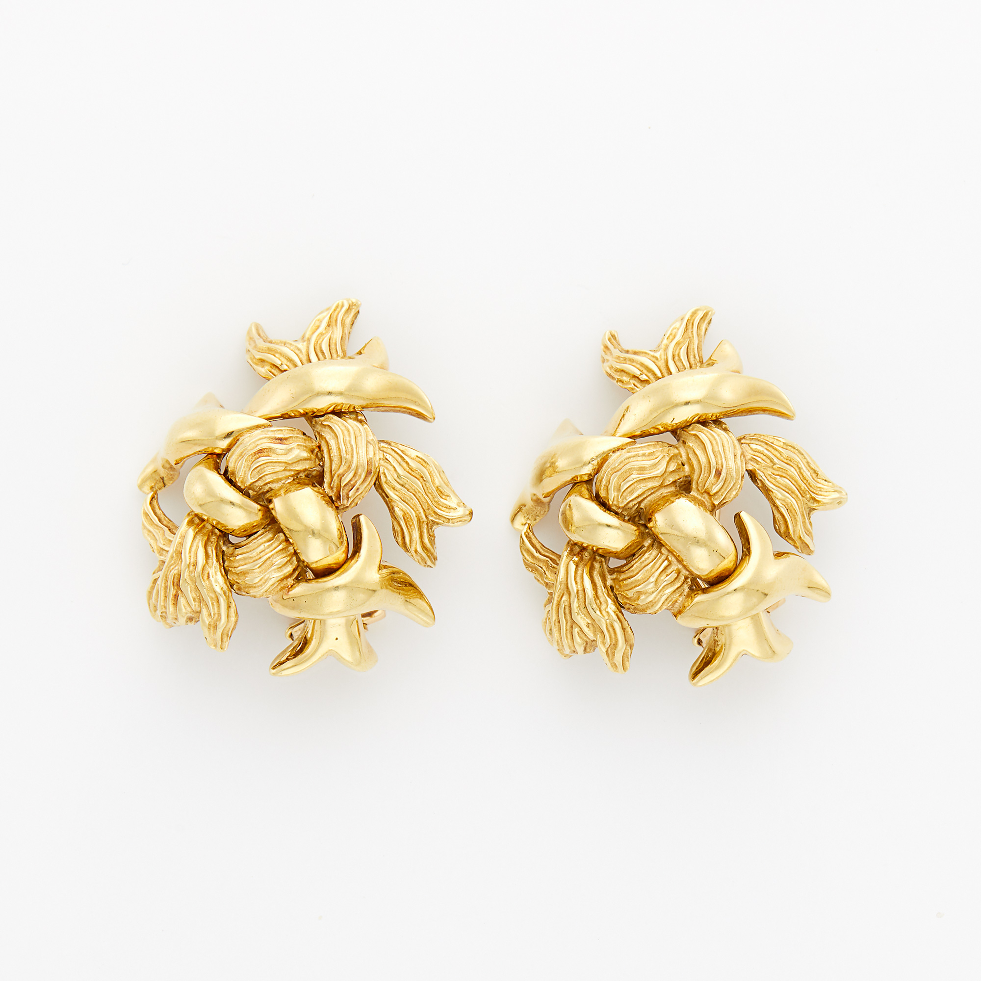 Lot image - Gold Knot Earrings, Tiffany & Co.