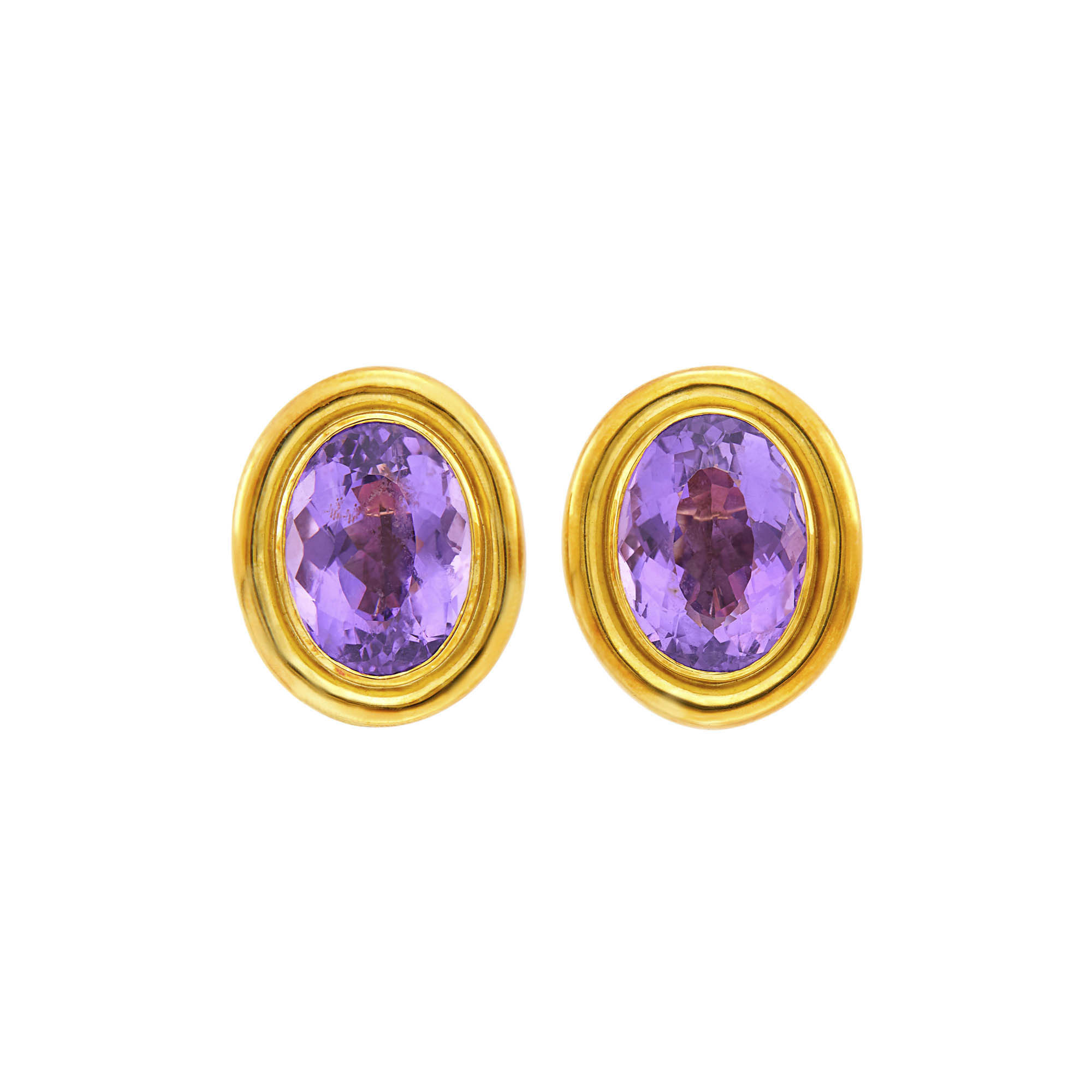 Lot image - Andrew Clunn Pair of Gold and Amethyst Earclips