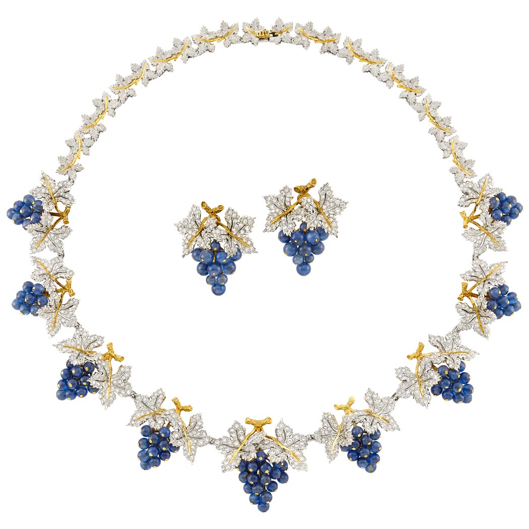 Lot image - Two-Color Gold, Diamond and Sapphire Grape Cluster Necklace, Buccellati, and Pair of Earrings, Gianmaria Buccellati
