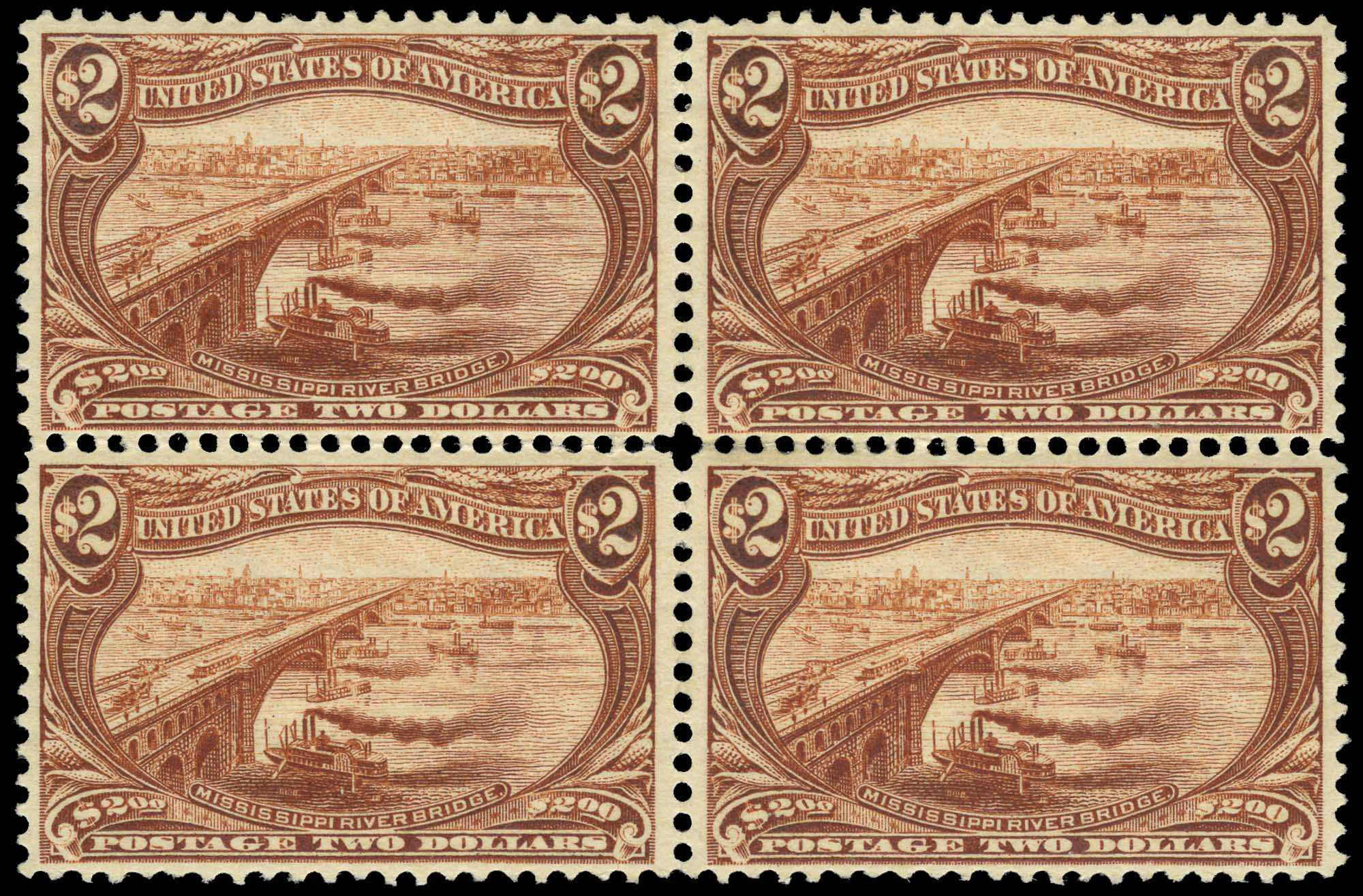 Lot image - United States 1898 $2 Trans-Mississippi Block of Four, Scott 293
