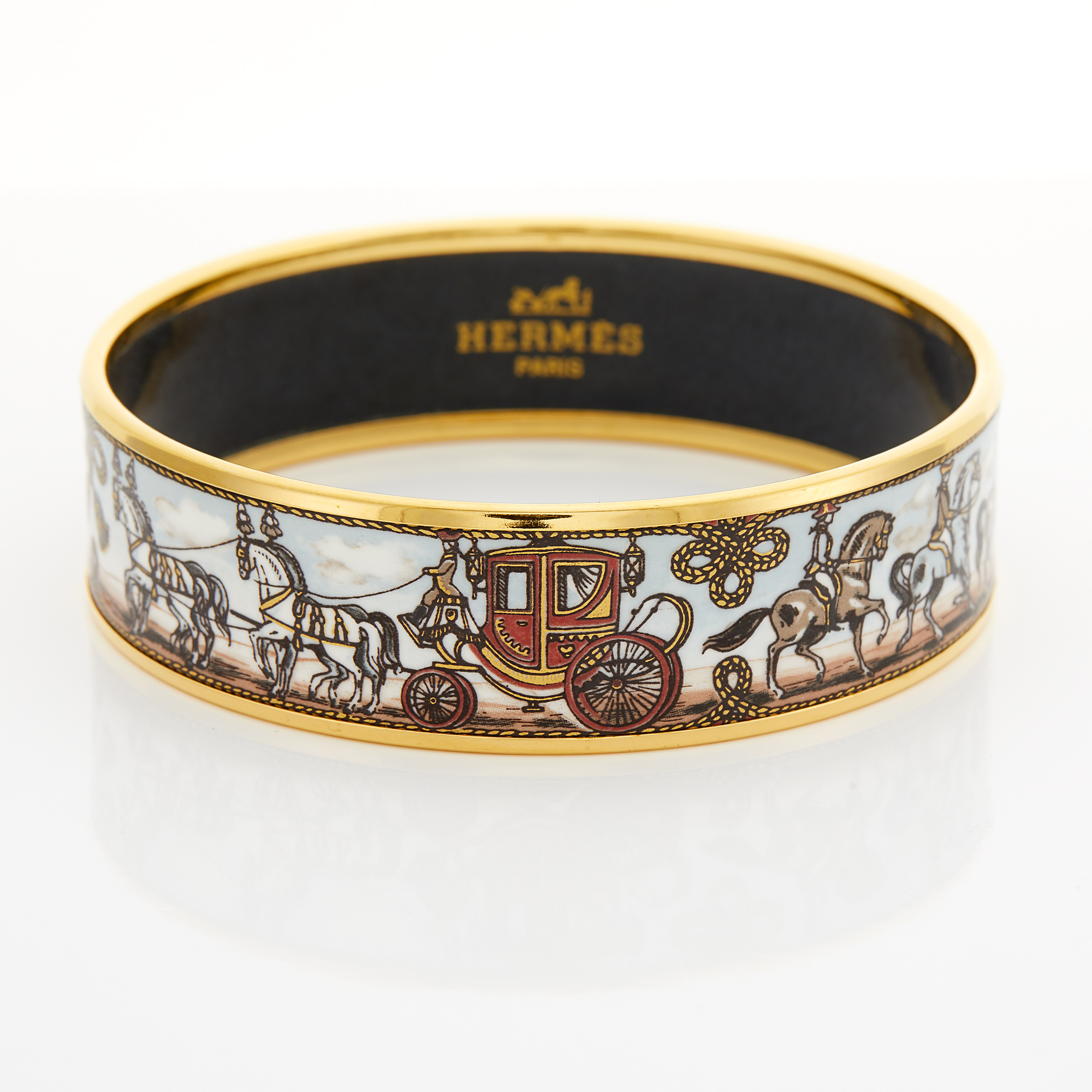 Lot image - Metal and Enamel Bangle Bracelet, Hermès