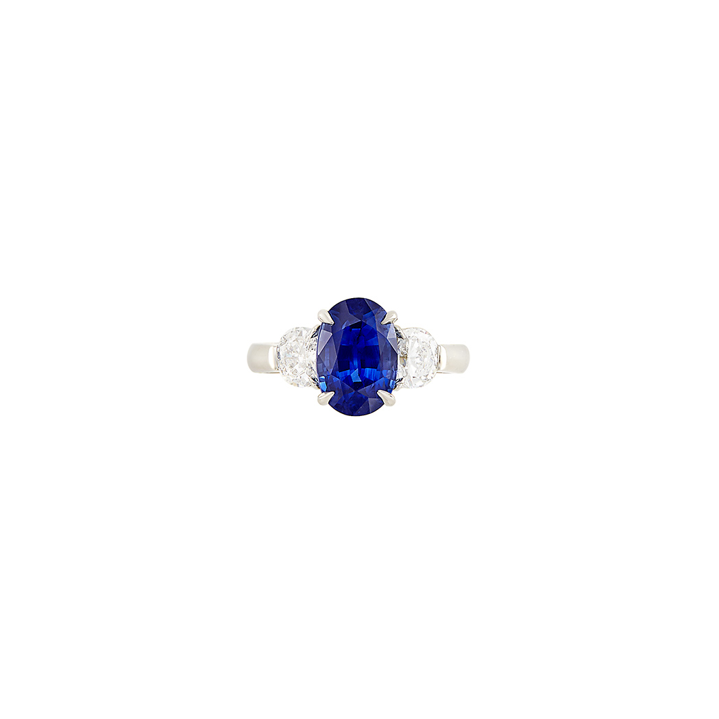 Lot image - Platinum, Sapphire and Diamond Ring