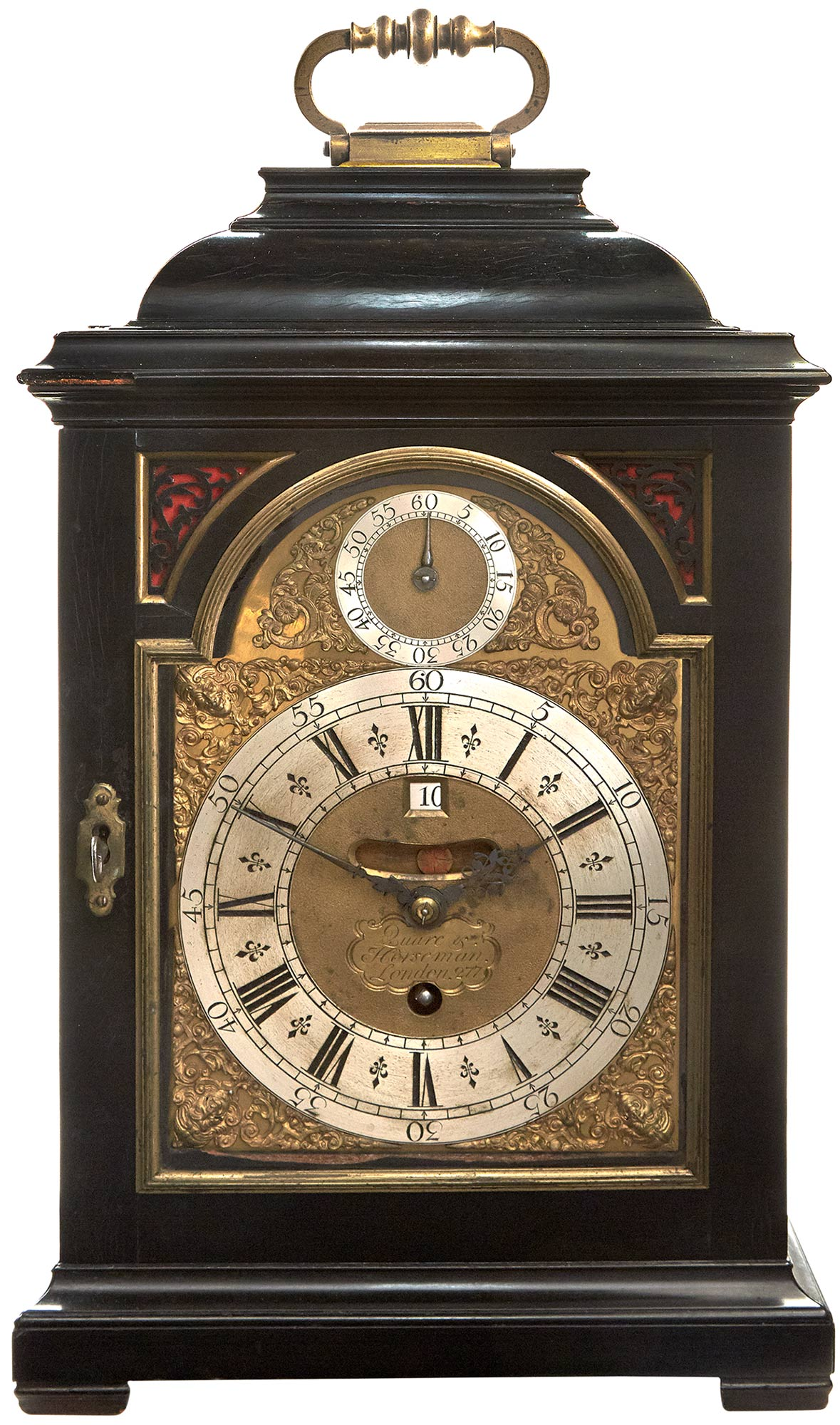 Lot image - George I Ebony-Veneered and Brass-Mounted Table Clock