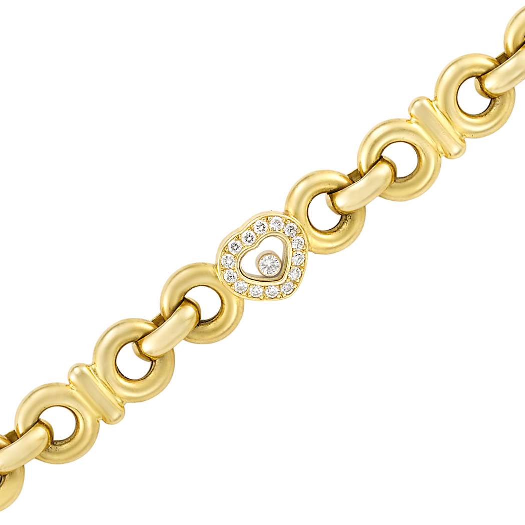 Lot image - Gold, Crystal and Diamond 'Happy Diamond' Bracelet, Chopard
