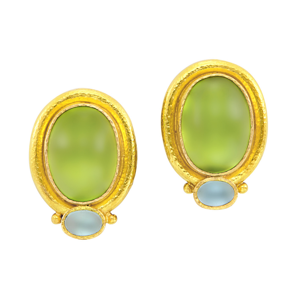 Lot image - Pair of Gold, Cabochon Peridot and Aquamarine and Mother-of-Pearl Earclips, Elizabeth Locke