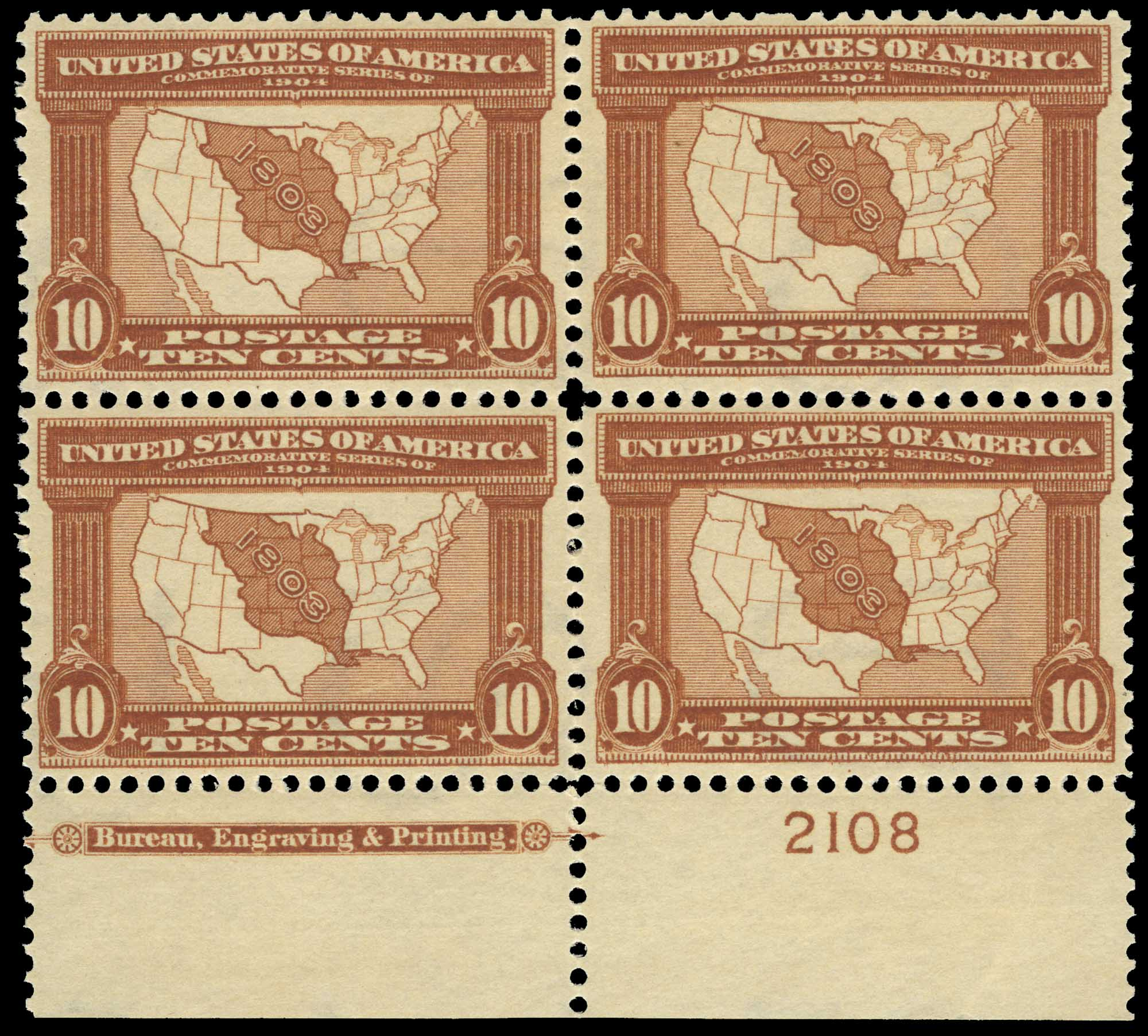 Lot image - United States 1904 10 Cents Louisiana Purchase Block of Four, Scott 327