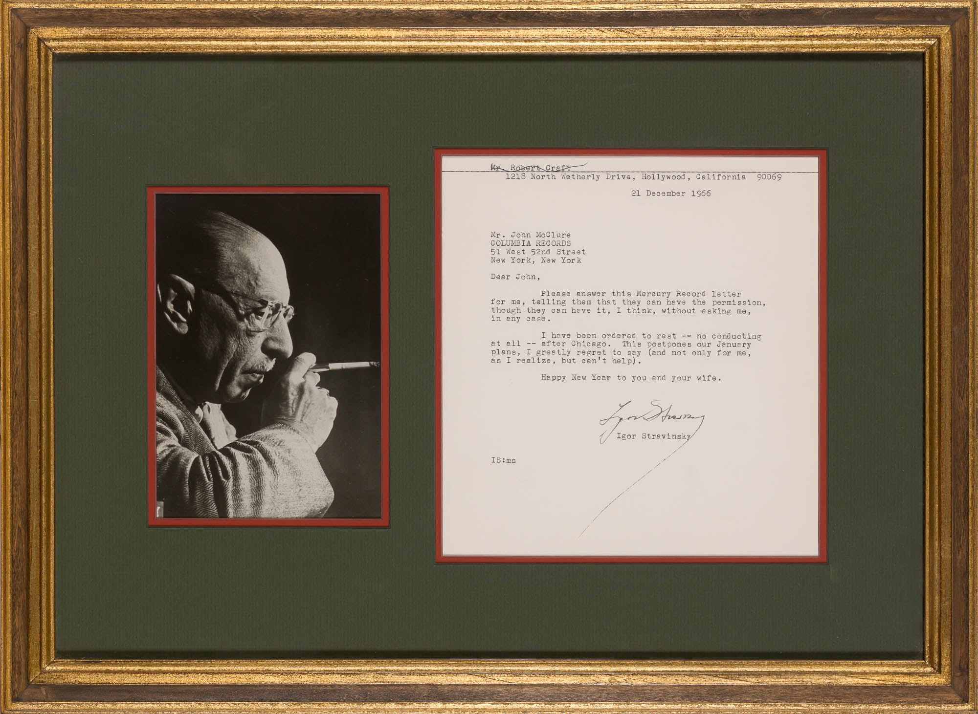 Lot image - STRAVINSKY, IGOR  Typed letter signed.