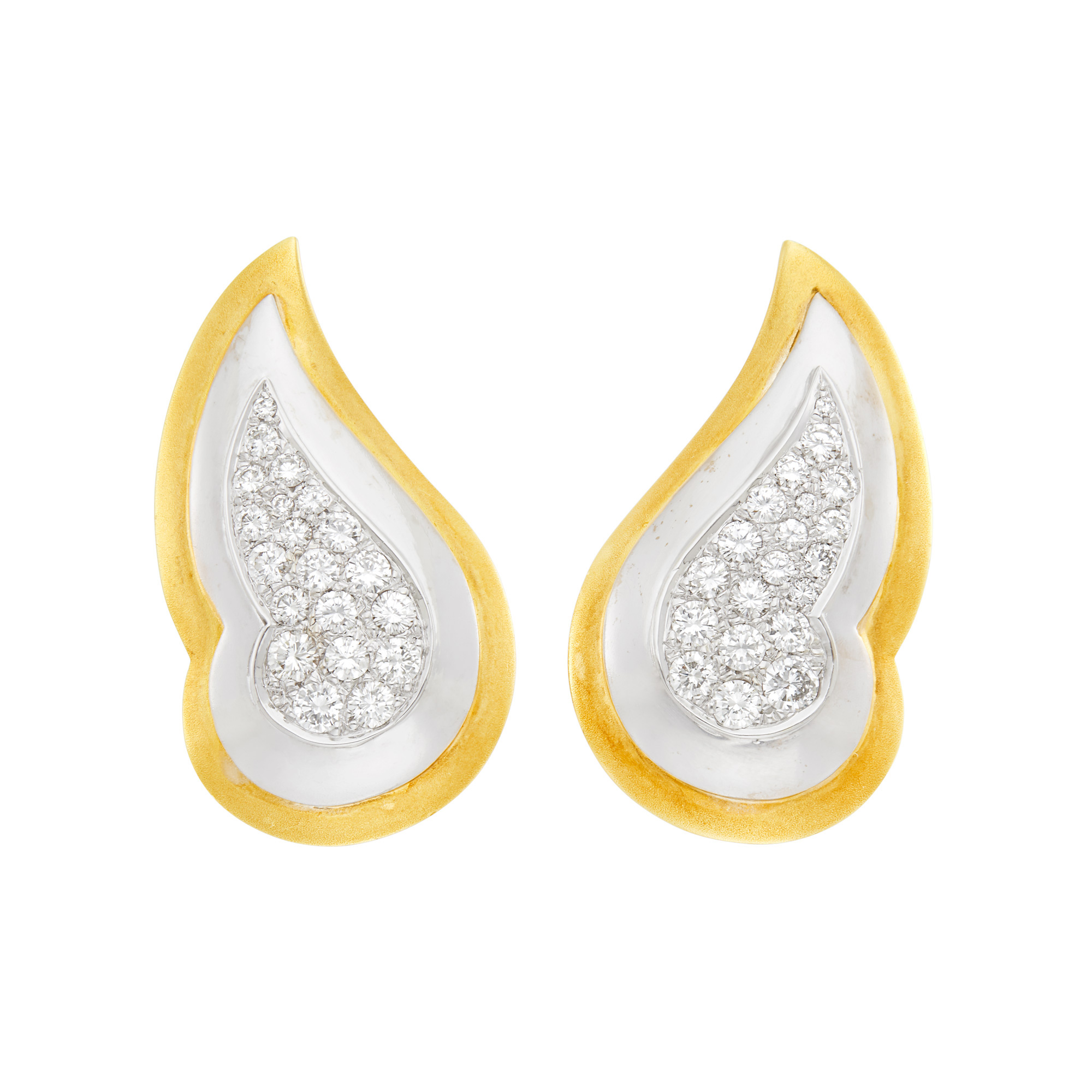 Lot image - Pair of Two-Color Gold and Diamond Earclips