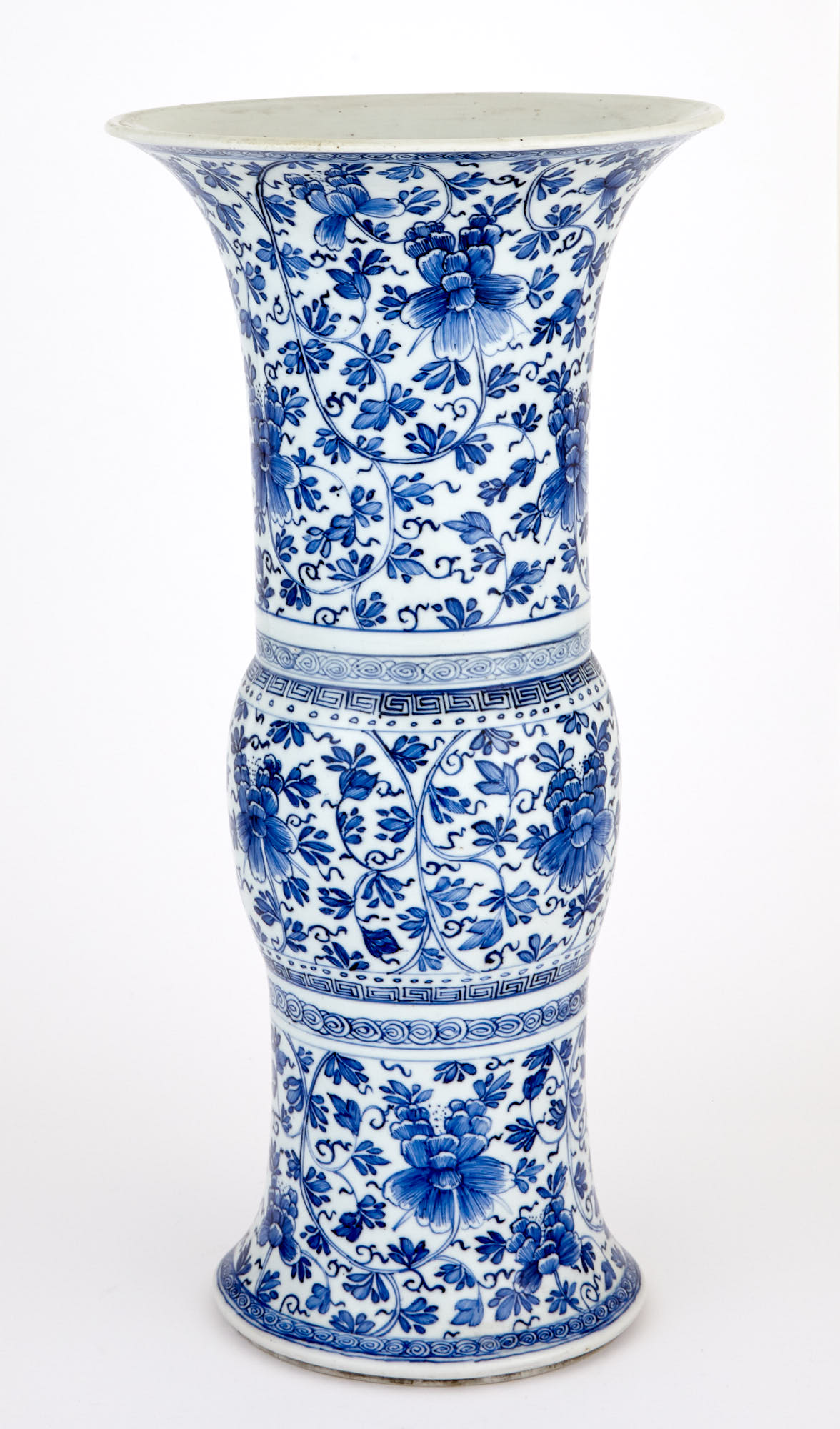 Lot image - Chinese Blue and White Porcleain Gu Vase