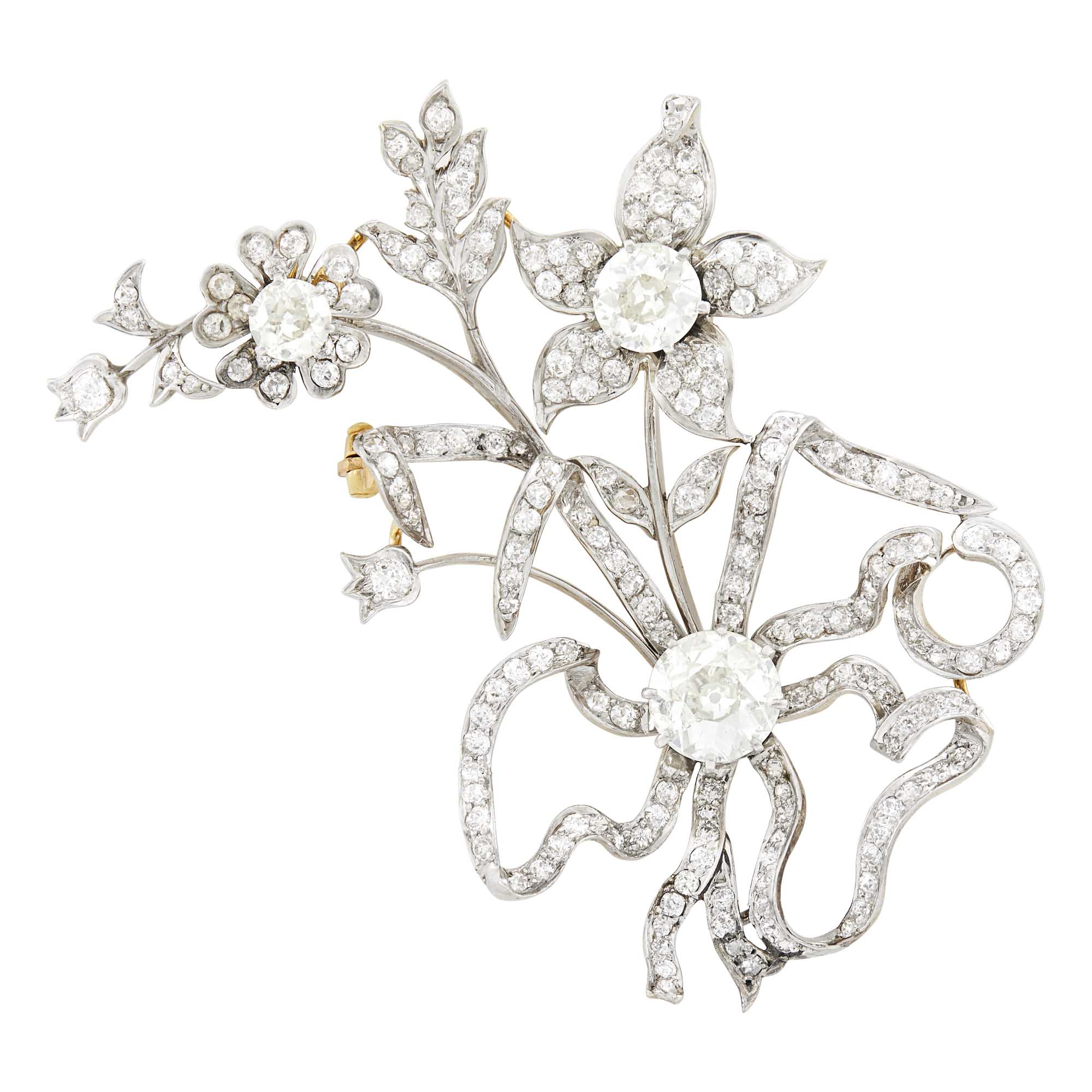 Lot image - Antique Platinum, Gold and Diamond Floral Brooch