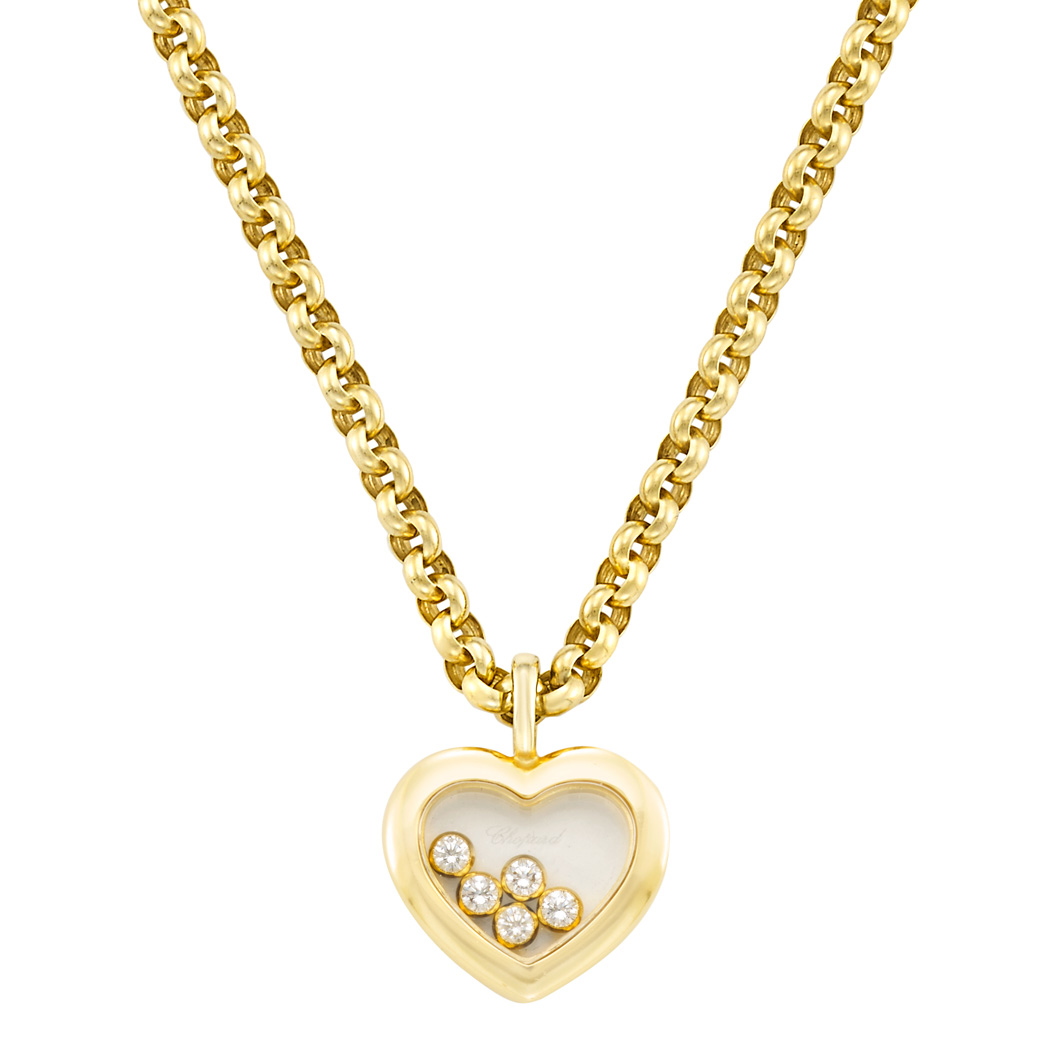 Lot image - Gold, Crystal and Diamond 'Happy Diamond' Pendant-Necklace, Chopard