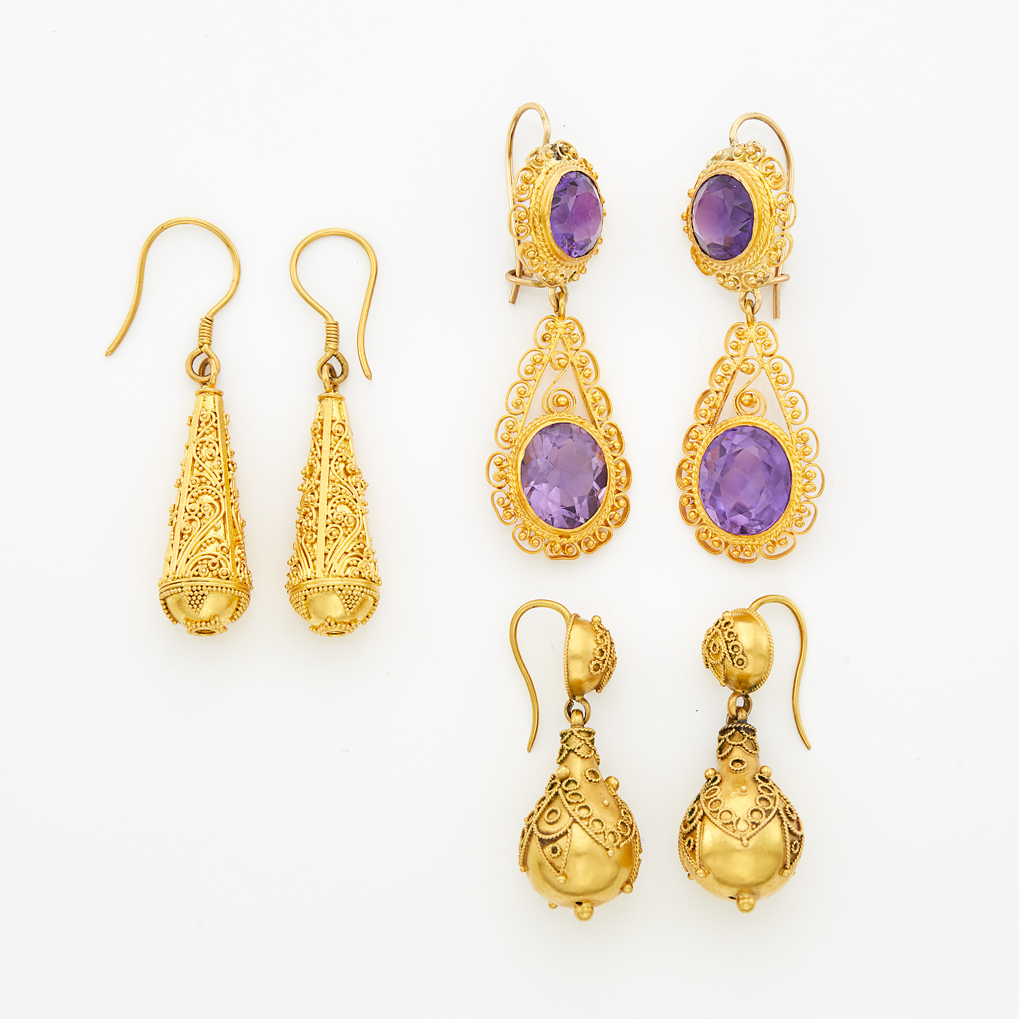 Lot image - Three Pairs of Gold and Amethyst Pendant-Earrings